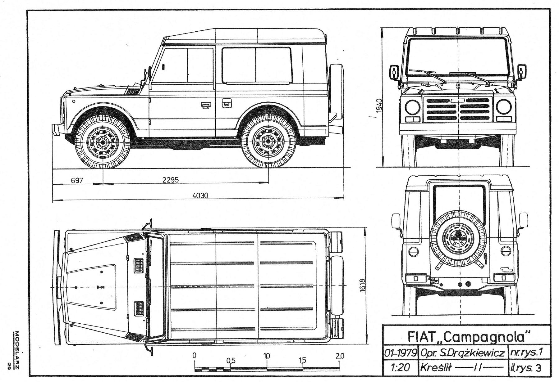 Fiat Nuova Campagnola Blueprint - Download free blueprint for 3D ...