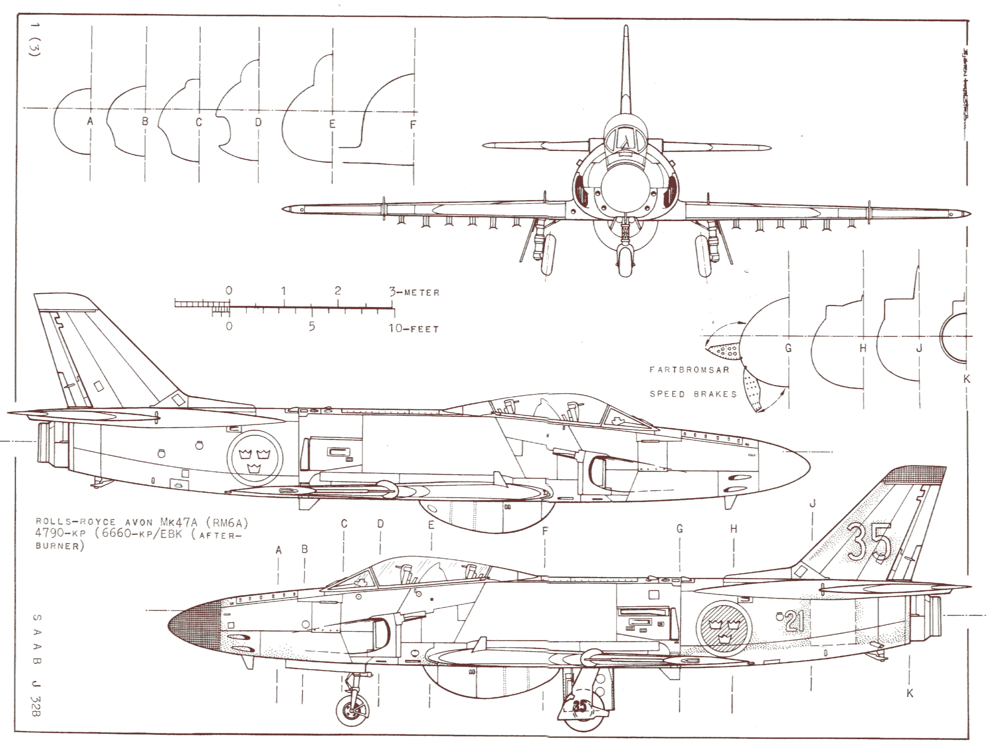 Saab 32 Lansen blueprint