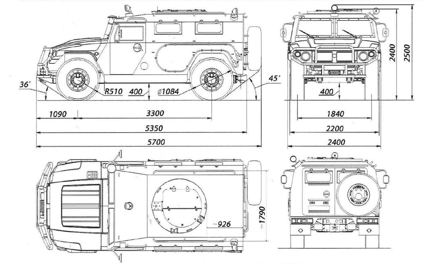 GAZ-233014 Tigr blueprint