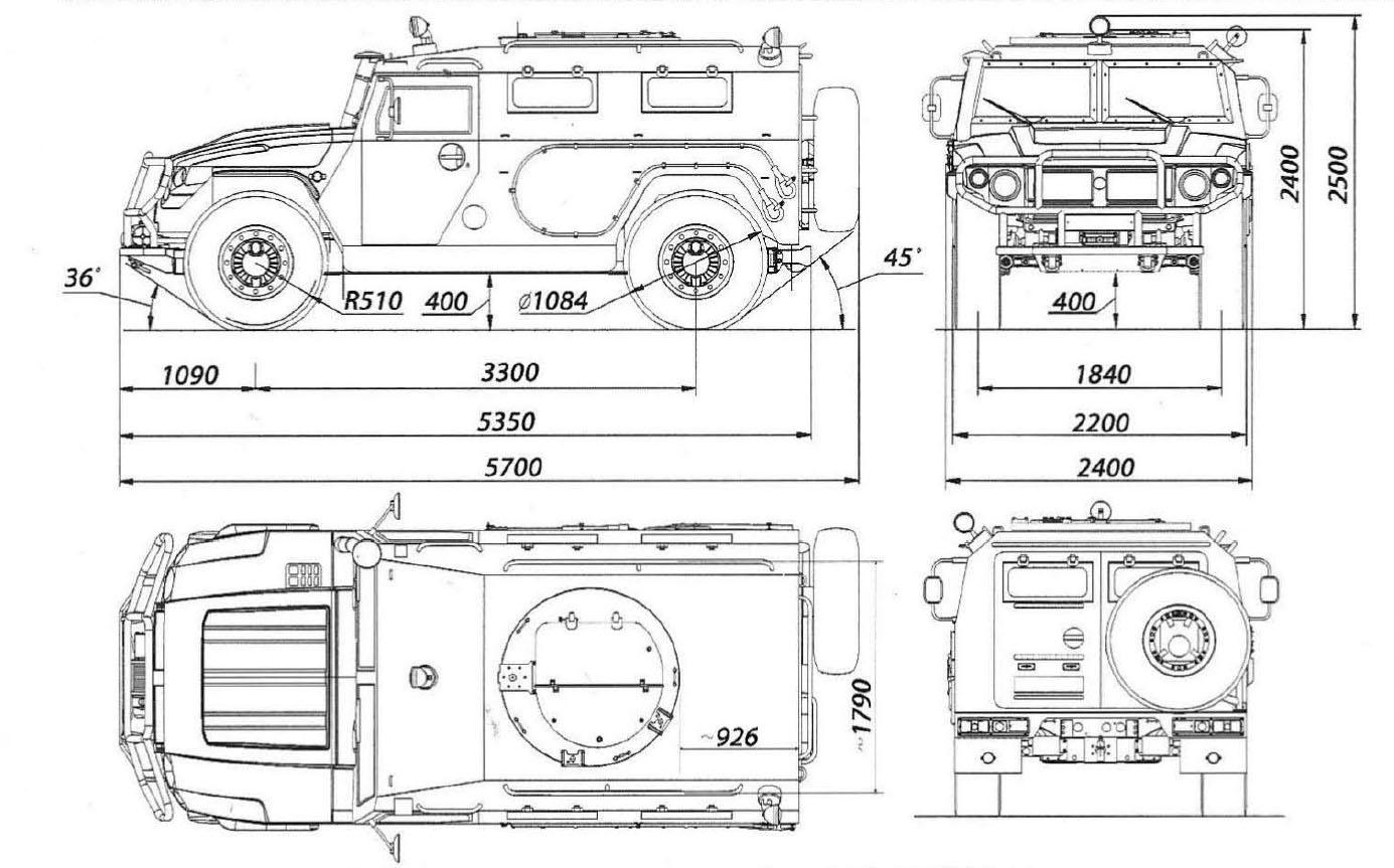GAZ-233014 Tigr blueprint