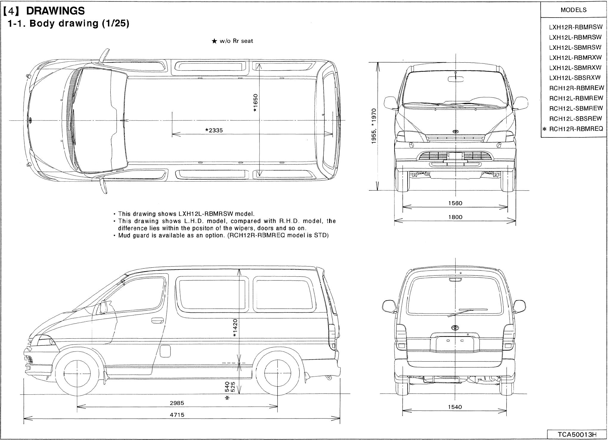 Toyota Hiace blueprint