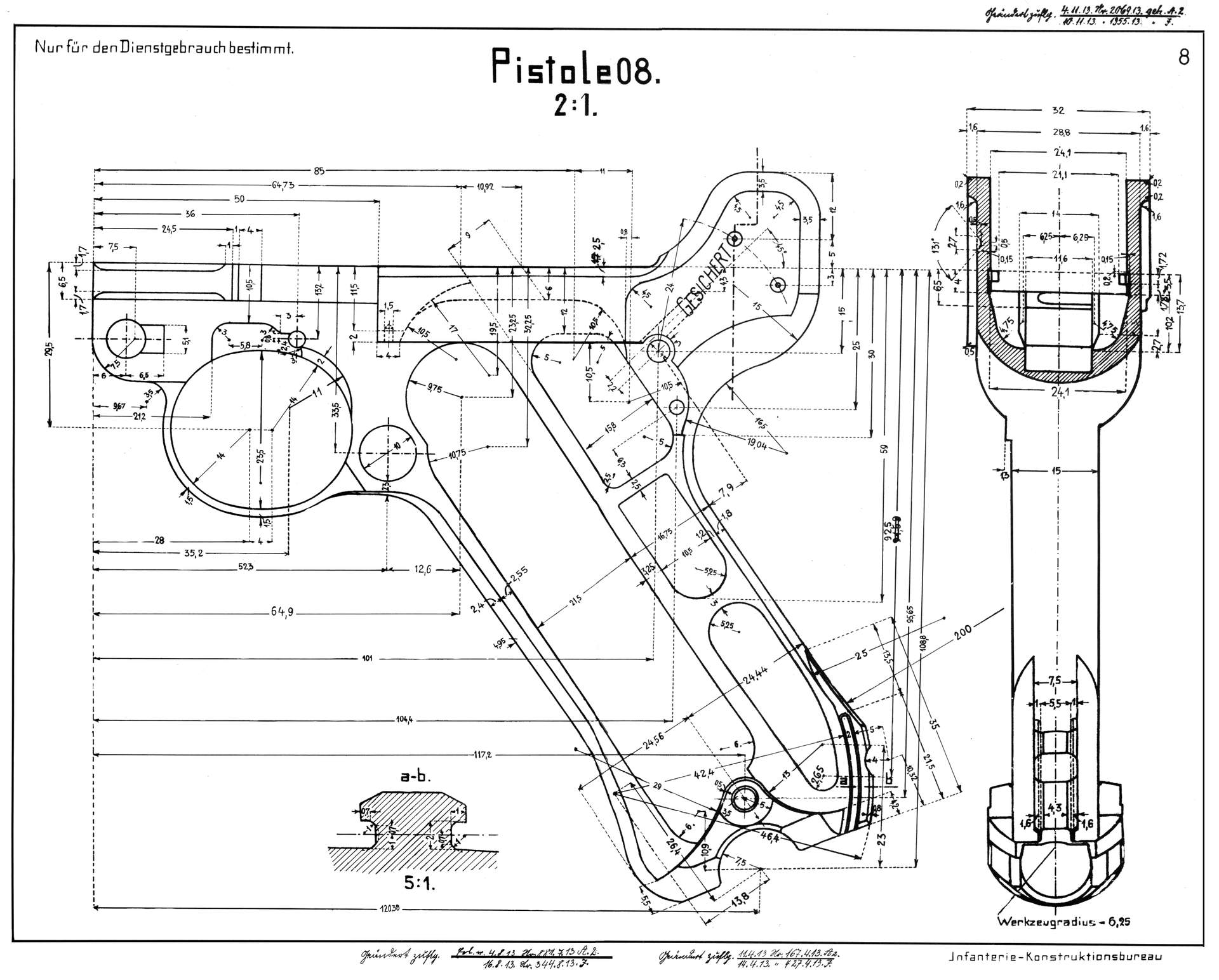 Luger P08 Blueprint - Download free blueprint for 3D modeling