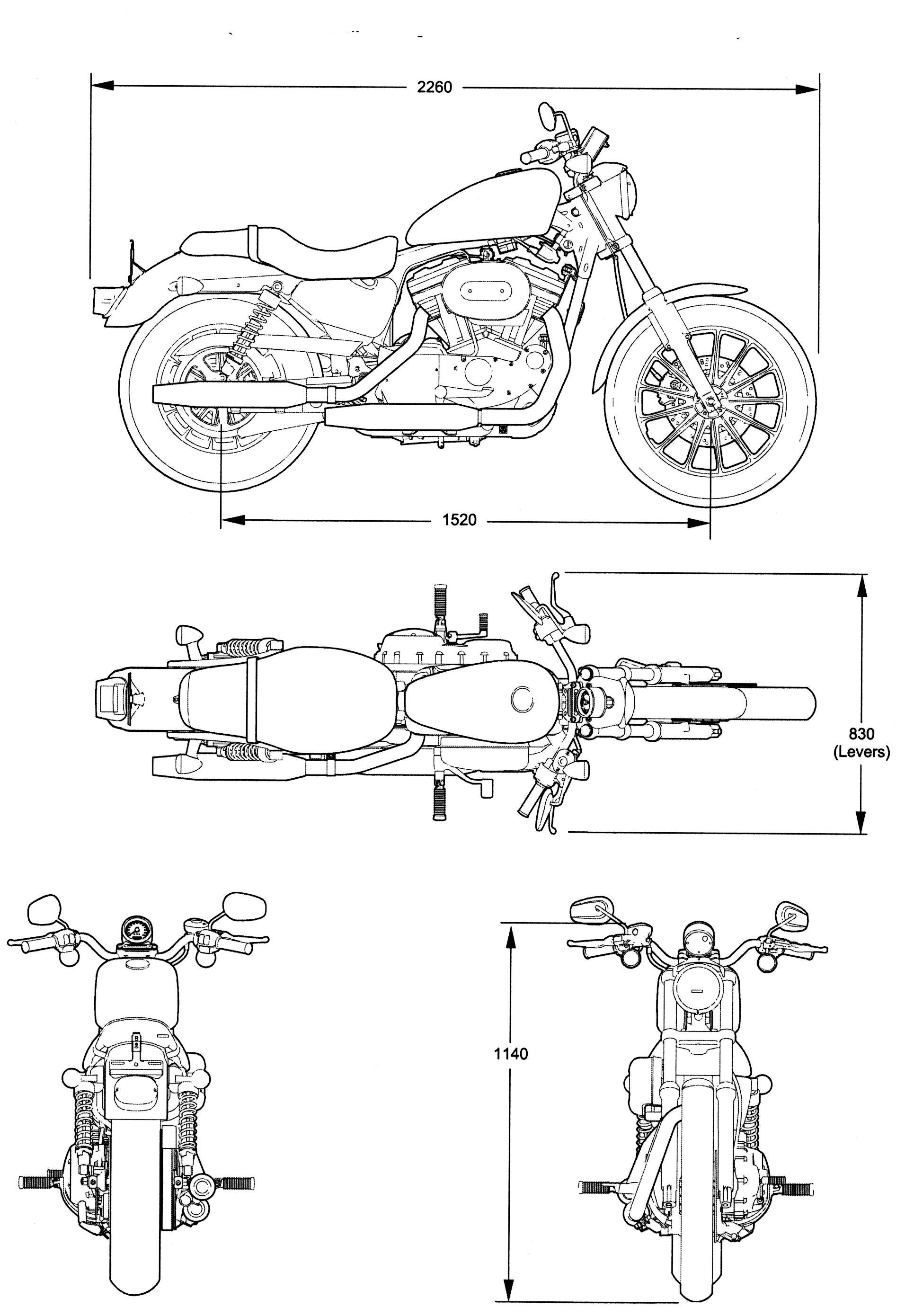 Line Art Xl 2011 : Harley davidson xlh c blueprint download free