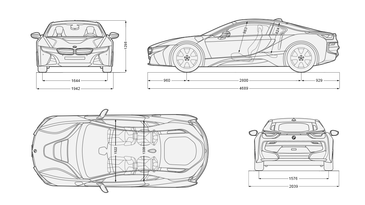 BMW I8 Blueprint Download Free For 3D Modeling