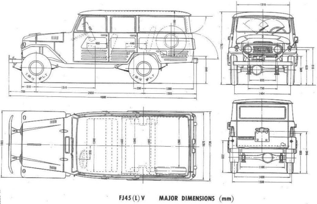 toyota land cruiser fj45 1964 blueprint