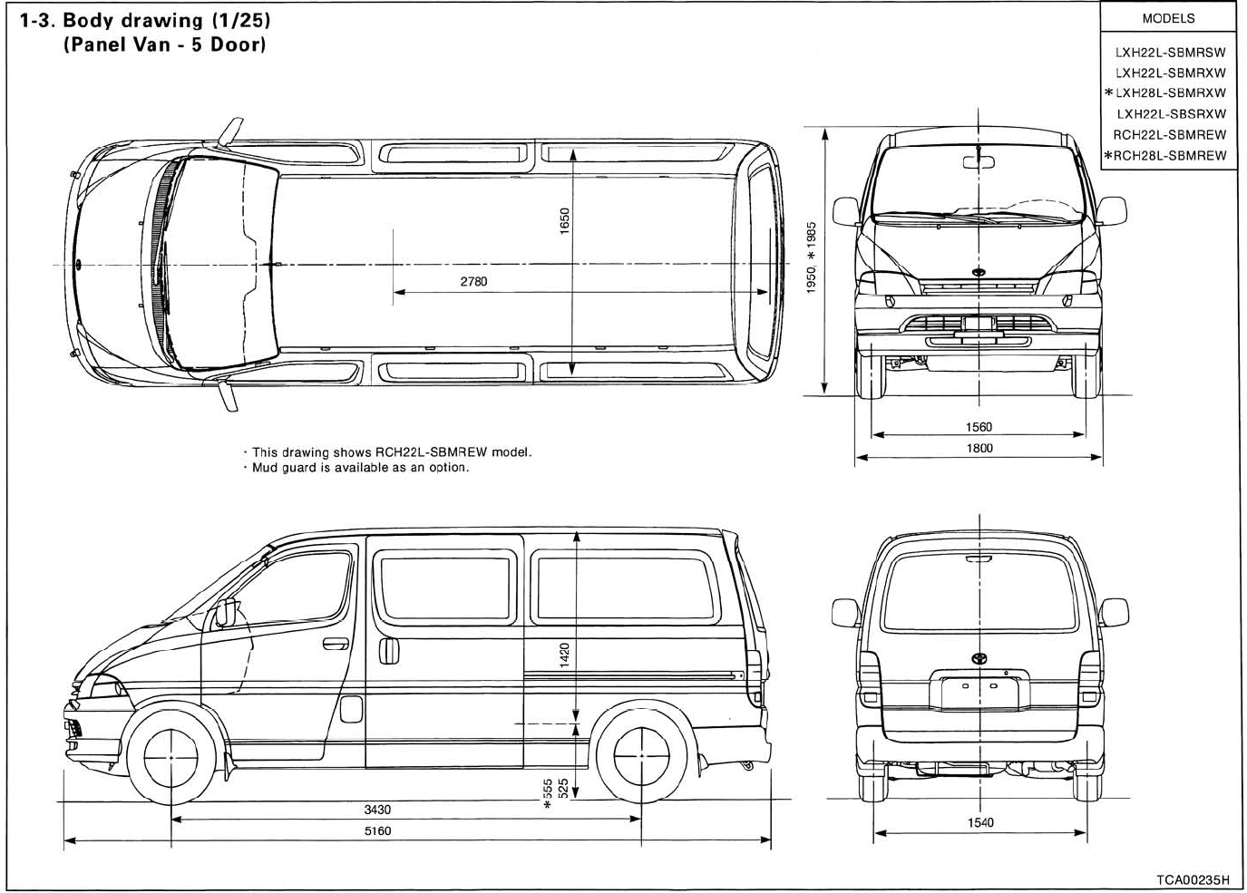 Toyota Hiace 1995 2001 on chevy van coloring pages