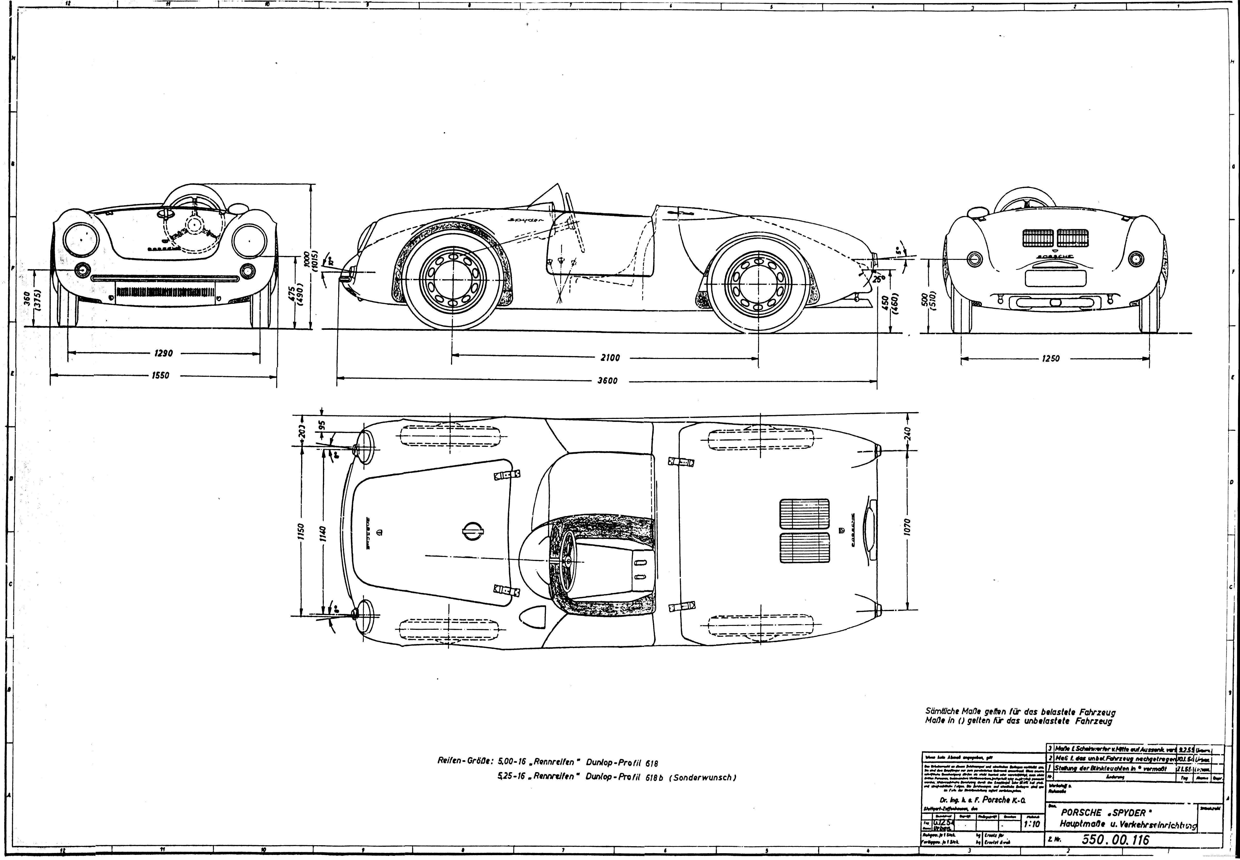 Porsche 550 Blueprint - Download free blueprint for 3D modeling