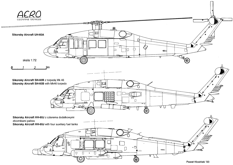 Sikorsky UH-60 Black Hawk Blueprint - Download free blueprint for 3D  modelingBlueprints