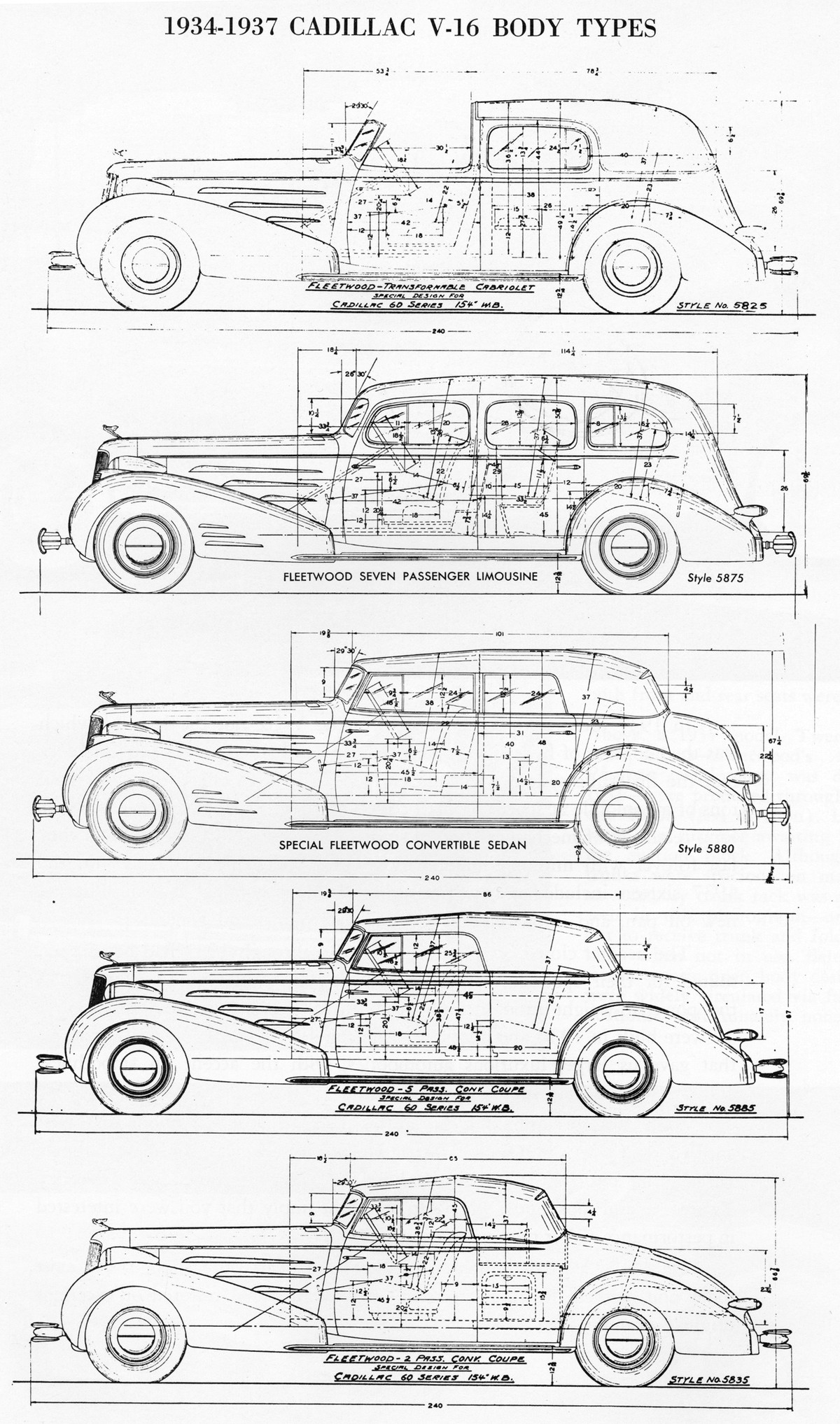 Cadillac v 16 body types 1934 1937 blueprint download free cadillac v 16 blueprint malvernweather Image collections