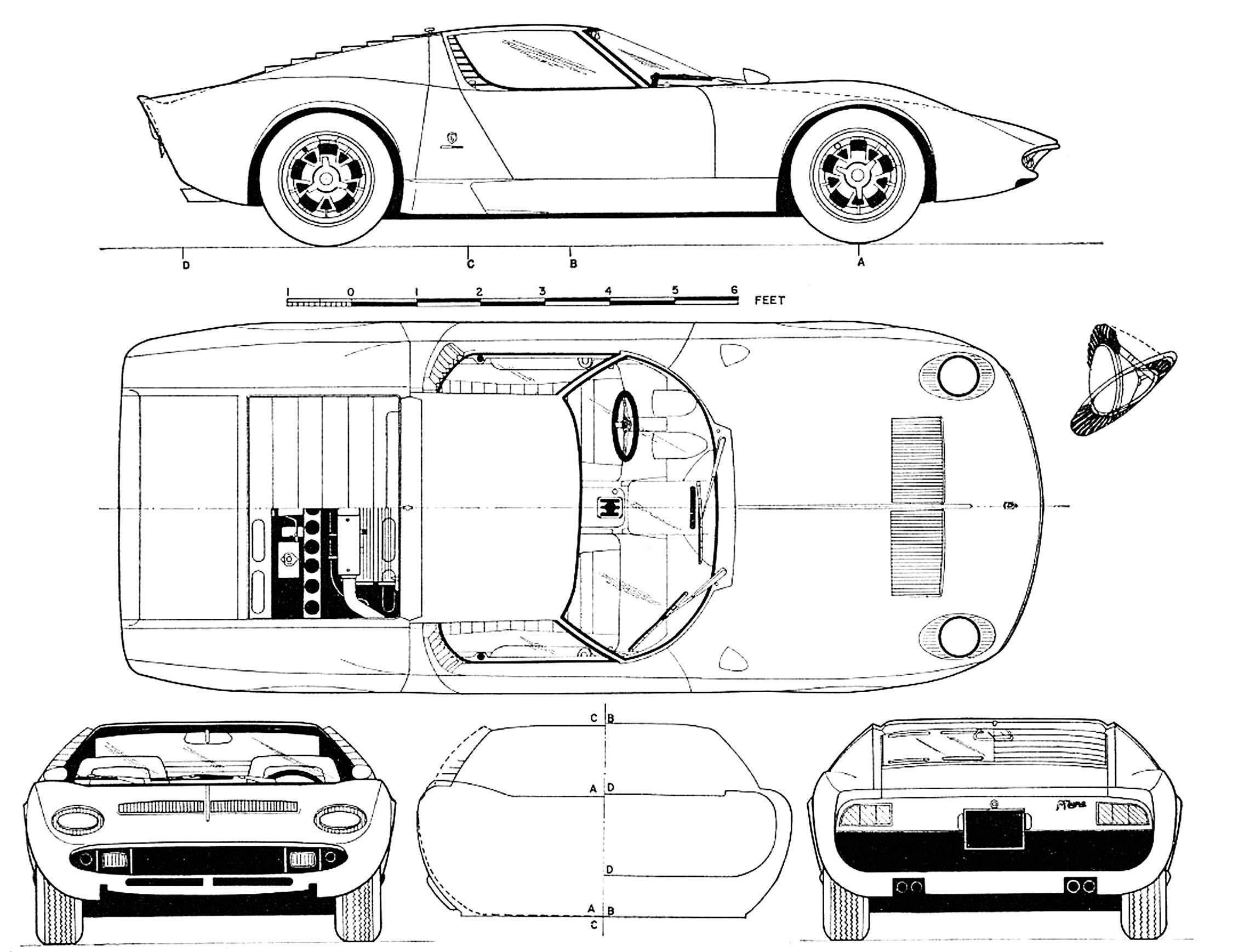 Lamborghini Miura Blueprint - Download free blueprint for 3D modeling