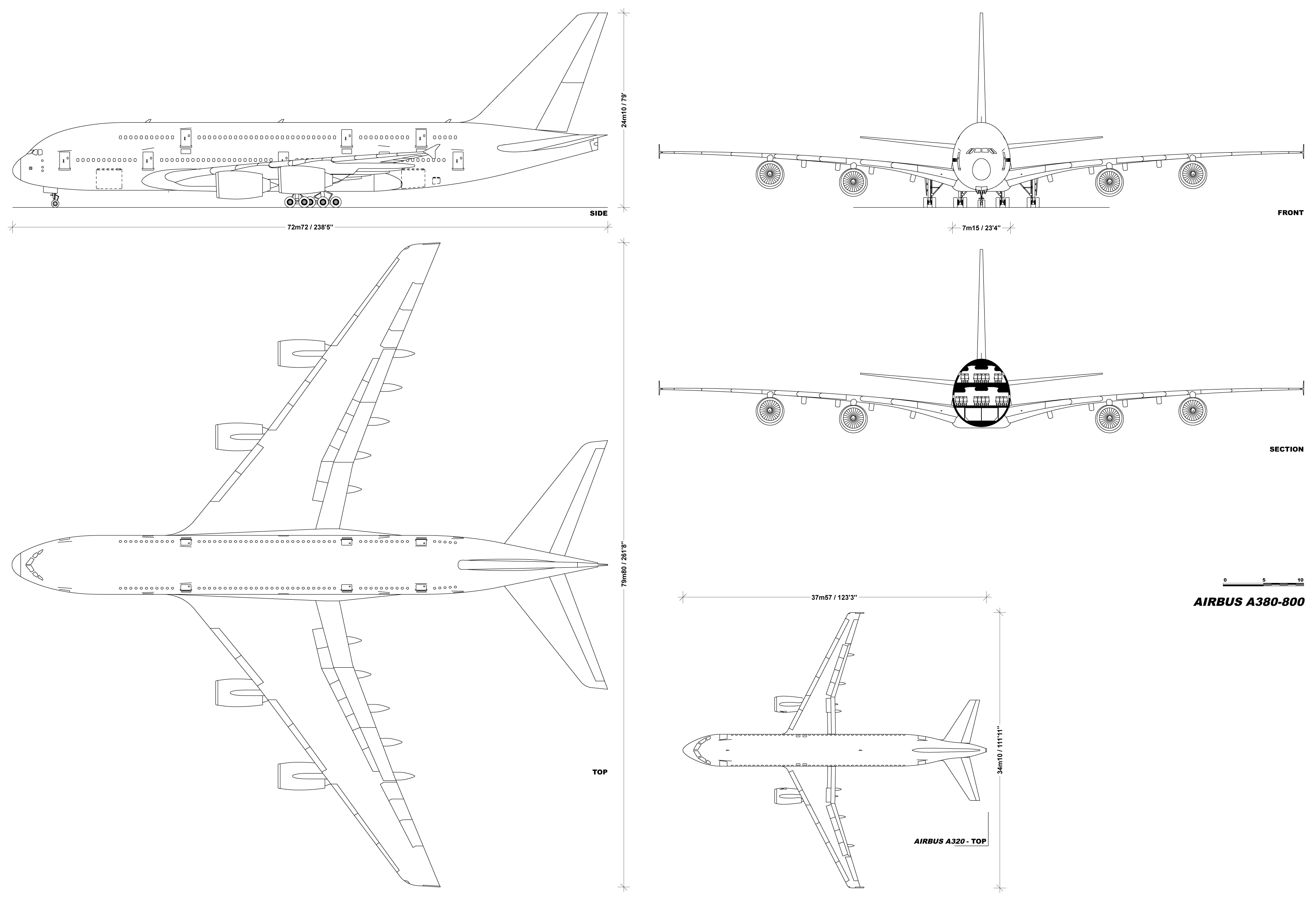 Airbus a380 blueprint download free blueprint for 3d modeling airbus a380 800 blueprint malvernweather Images