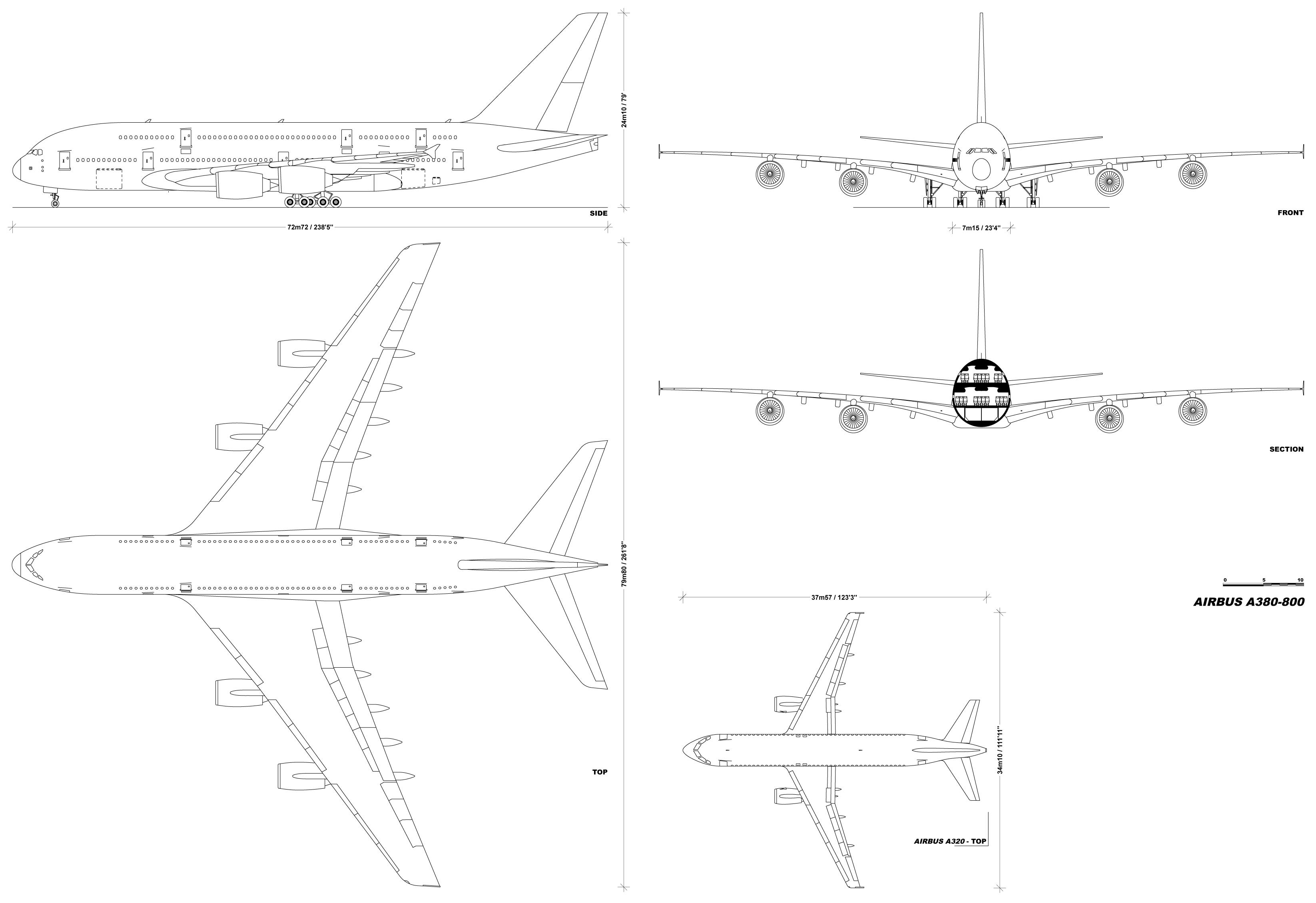 Airbus A380-800 blueprint