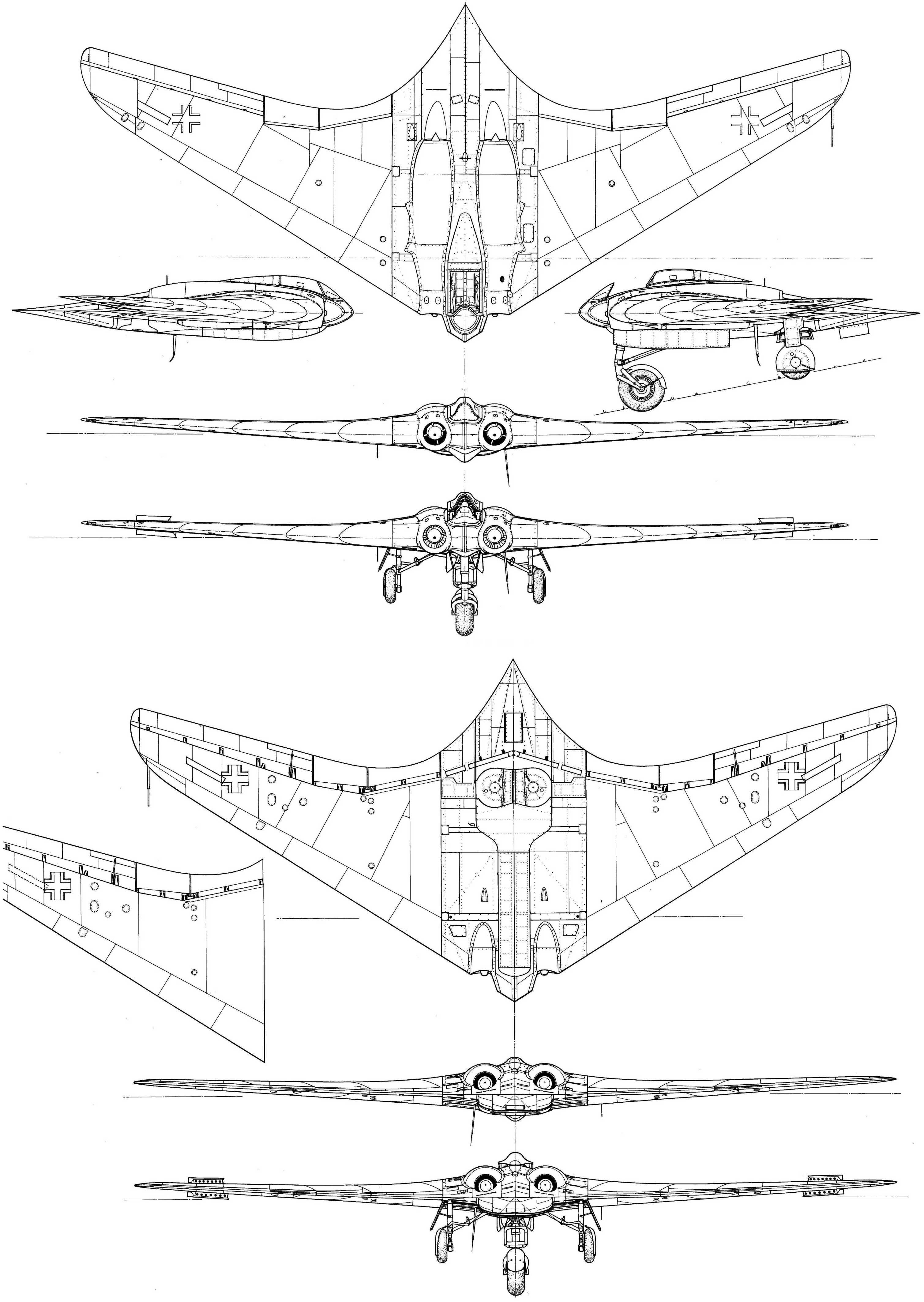 Horten ho-229A Blueprint - Download free blueprint for 3D modeling