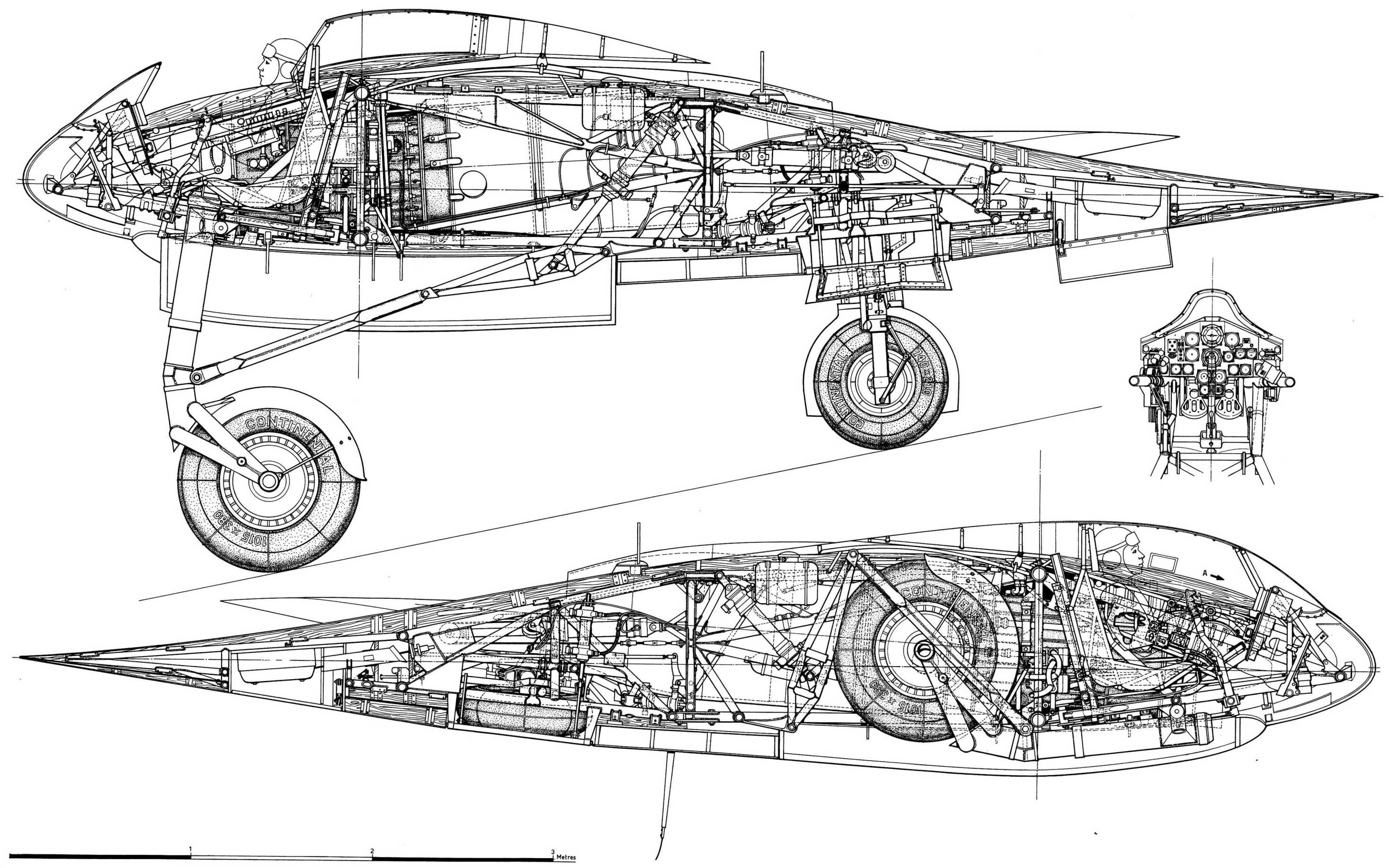 Horten ho-229A Blueprint - Download free blueprint for 3D modeling