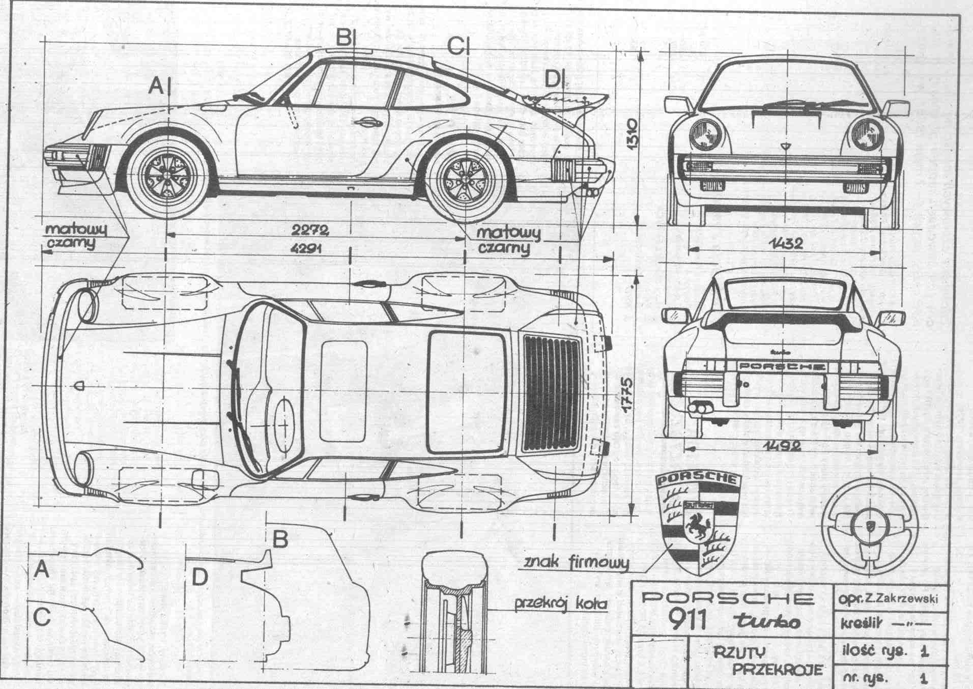 Porsche 911 turbo blueprint download free blueprint for for Free 3d blueprints