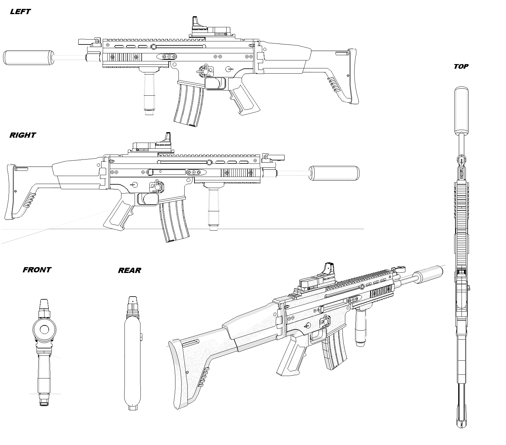Fn Scar H Blueprint Download Free Blueprint For 3d Modeling