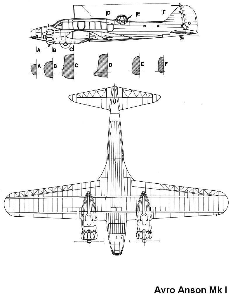 Avro Anson Mk I blueprint