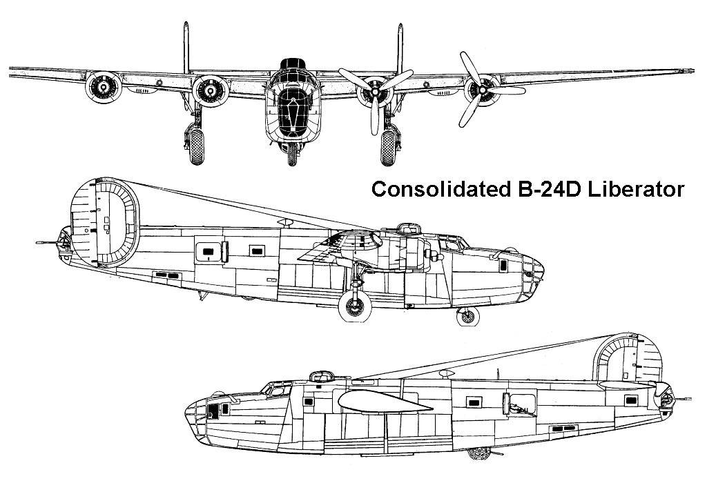 Consolidated B-24 Liberator Blueprint - Download free blueprint for 3D modeling