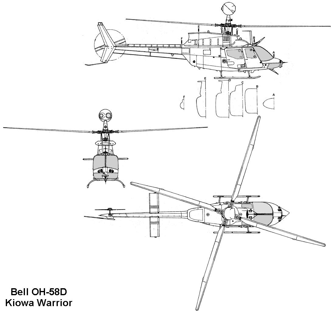 Bell oh 58d kiowa warrior blueprint download free for Free 3d blueprints