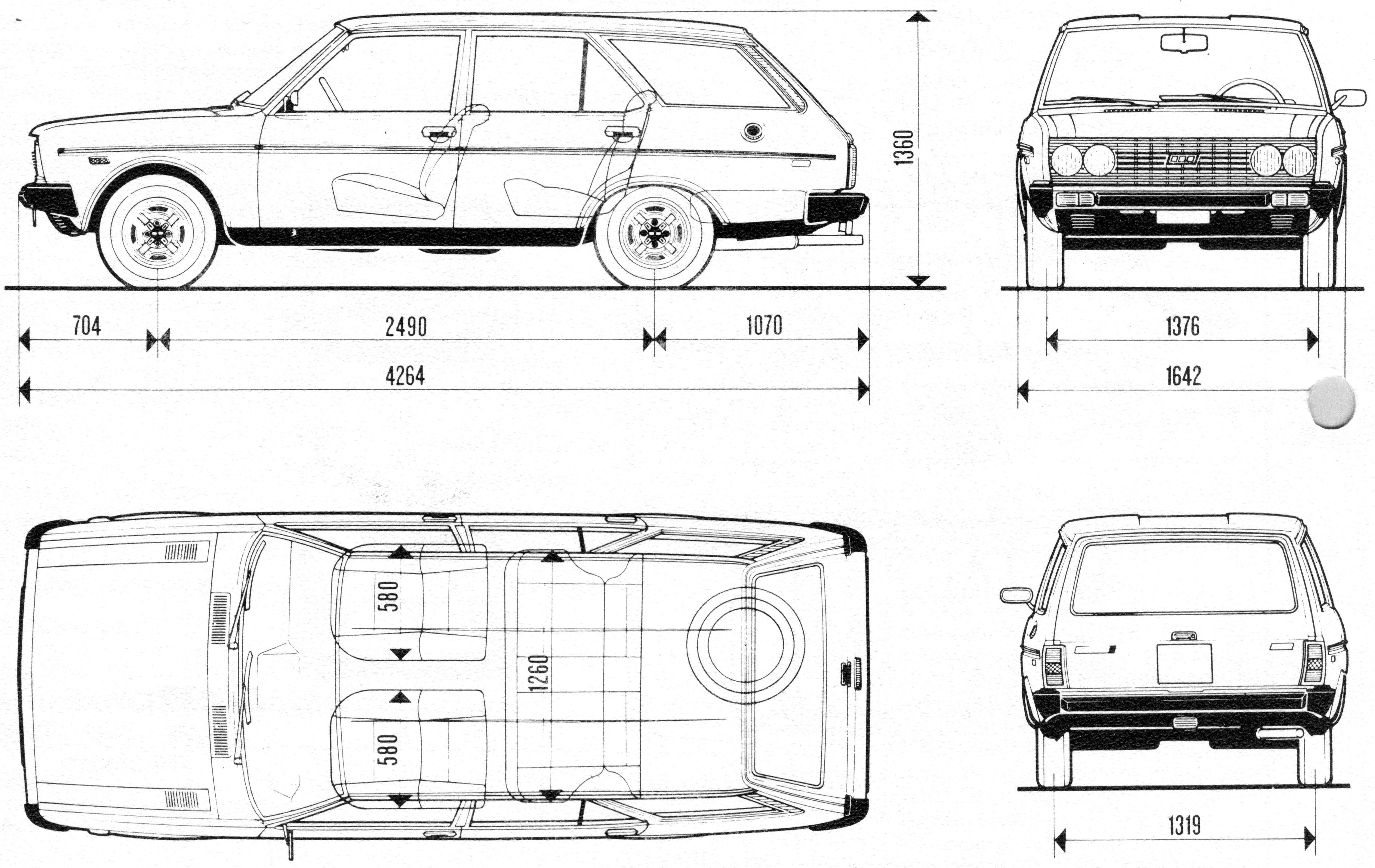 Fiat 131 Blueprint - Download free blueprint for 3D modeling