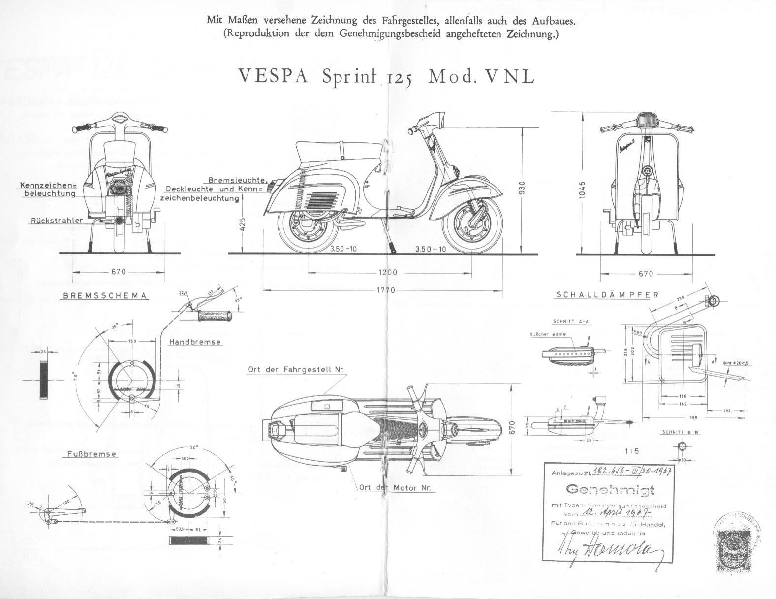 Vespa Sprint blueprint
