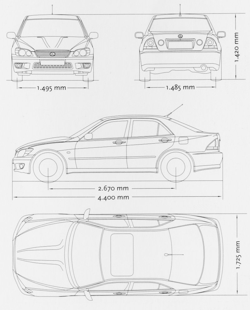 Lexus IS300 blueprint