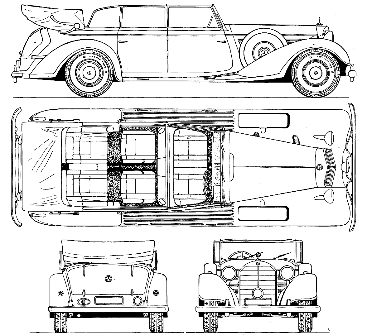Mercedes Benz 770 W150 1938 Blueprint Download Free