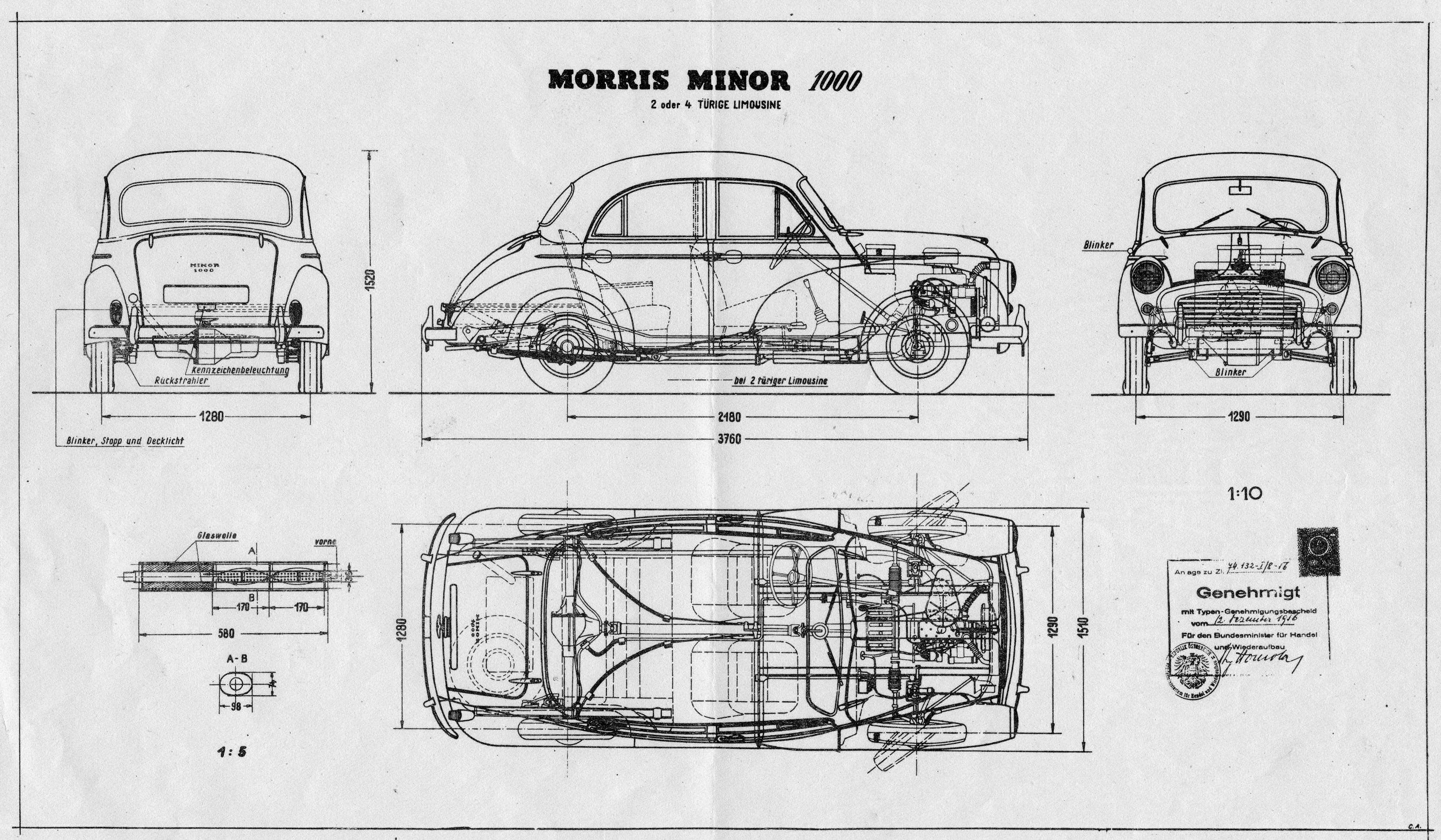 morris minor 1000 1938 blueprint