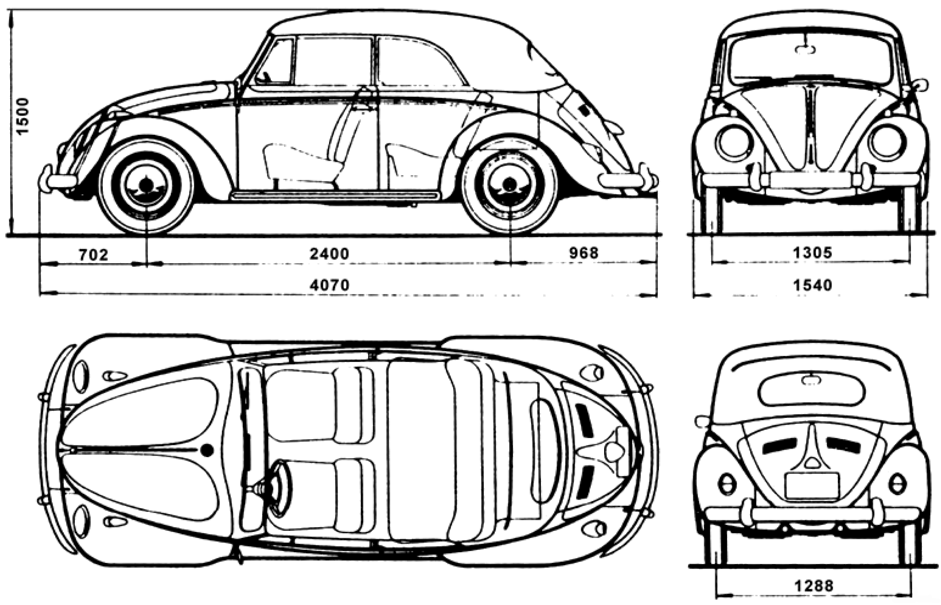 Volkswagen Beetle blueprint