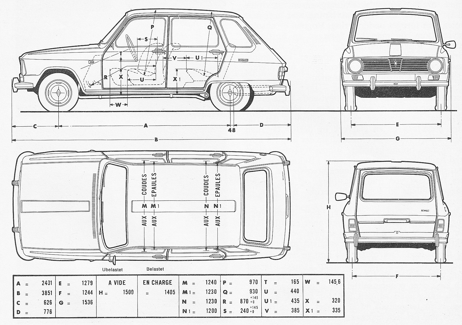 Renault 6 blueprint