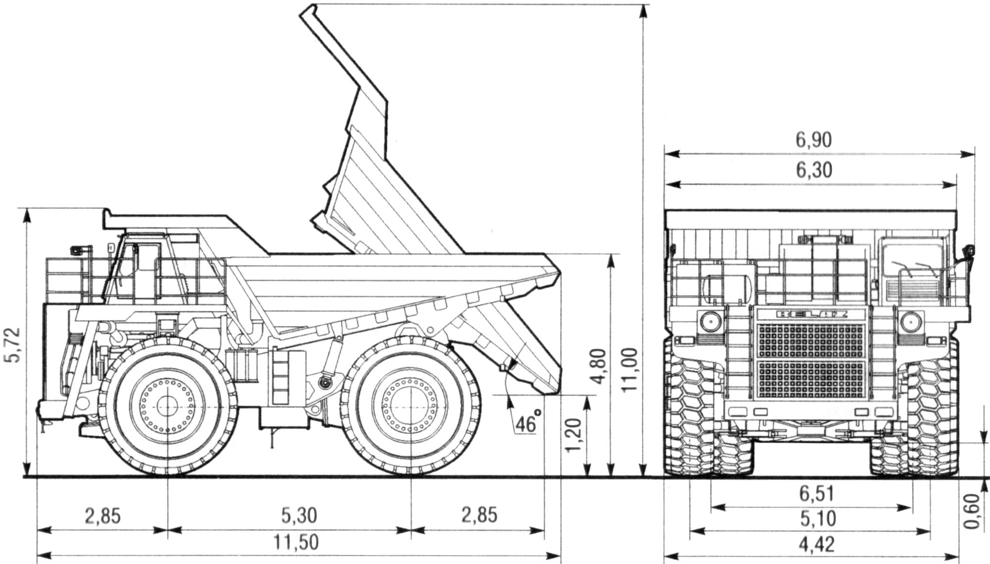 BelAZ 7513 blueprint