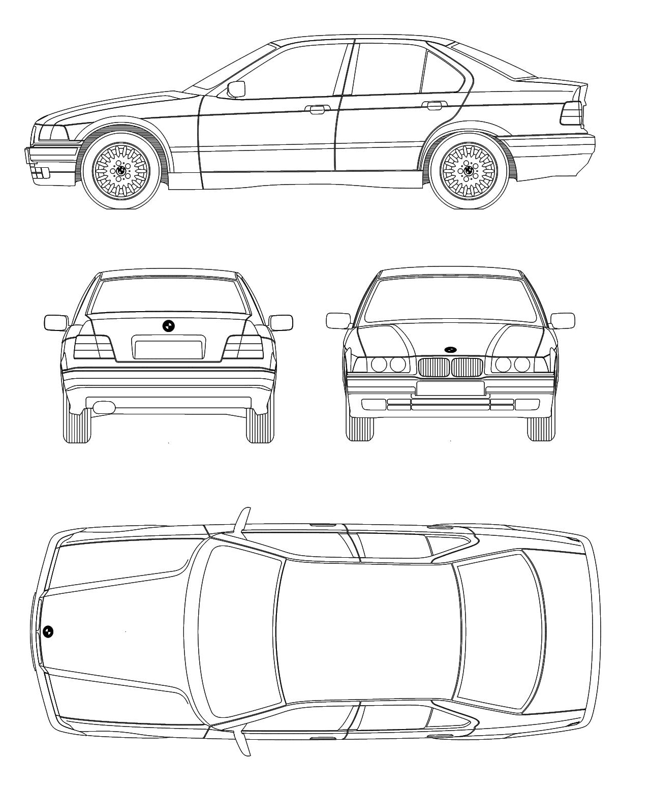 BMW E36 blueprint