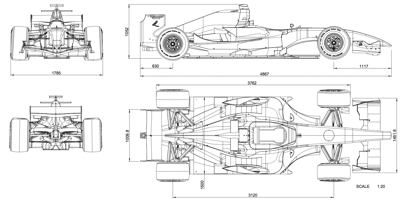 Dallara GP208 Blueprint - Download free blueprint for 3D modeling