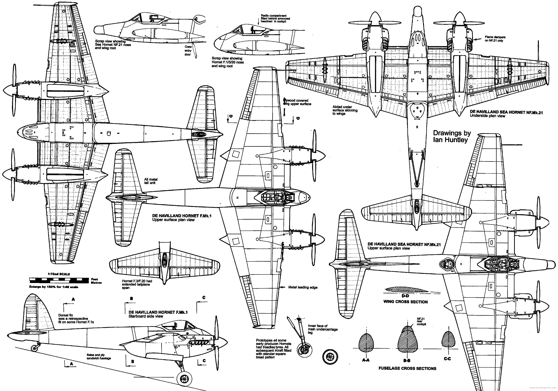 de Havilland Hornet blueprint