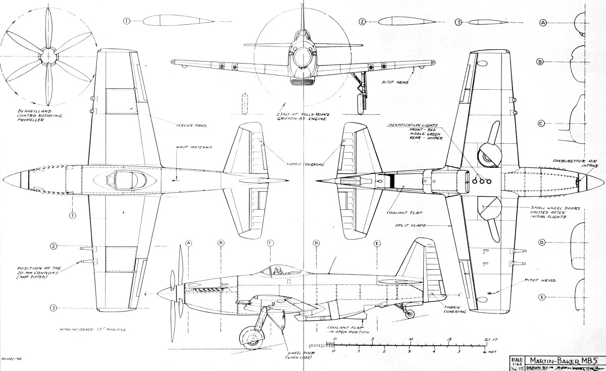 Martin-Baker MB 5 Blueprint - Download free blueprint for 3D modeling
