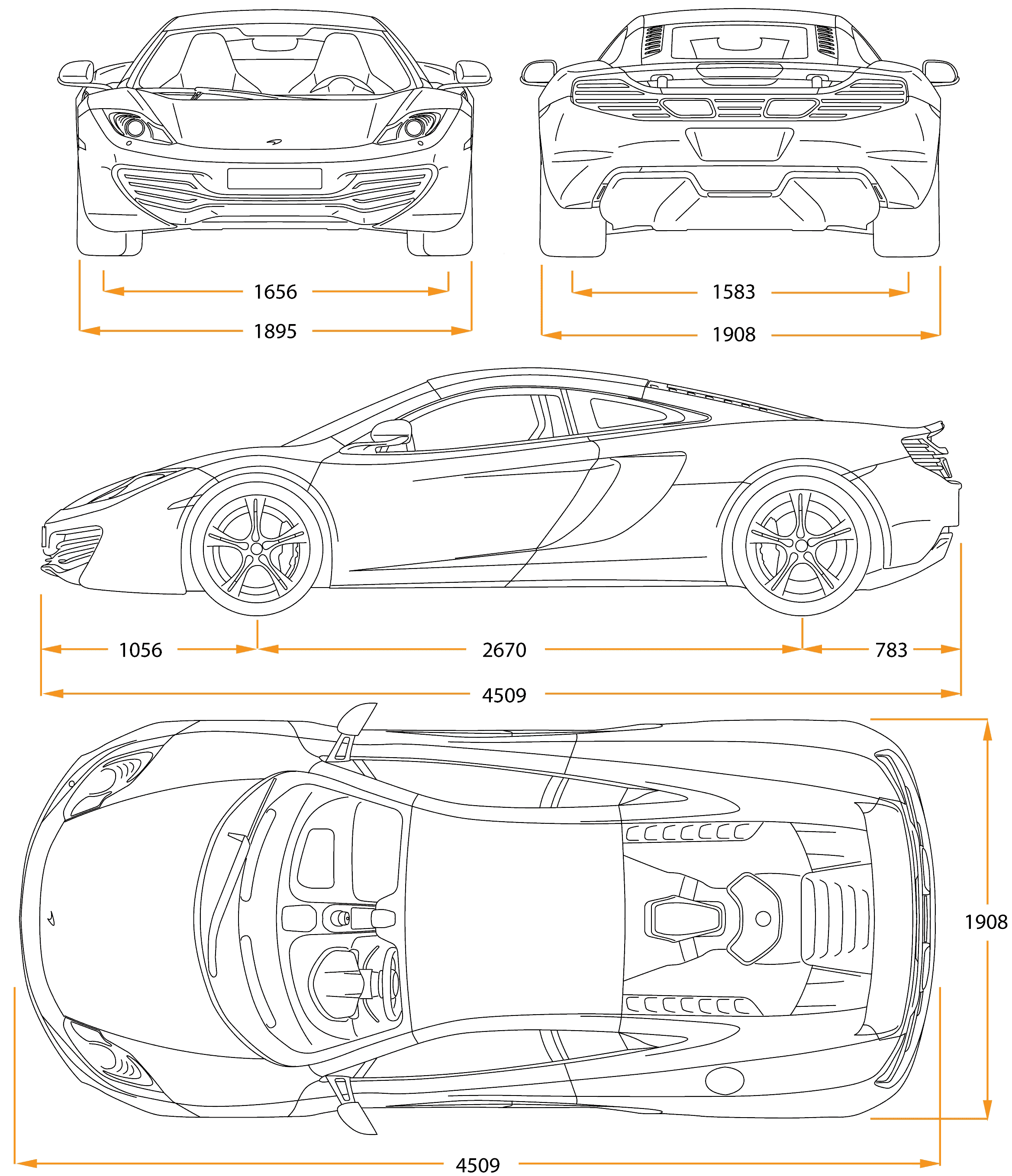 Mclaren Mp4 12c Blueprint Download Free Blueprint For 3d