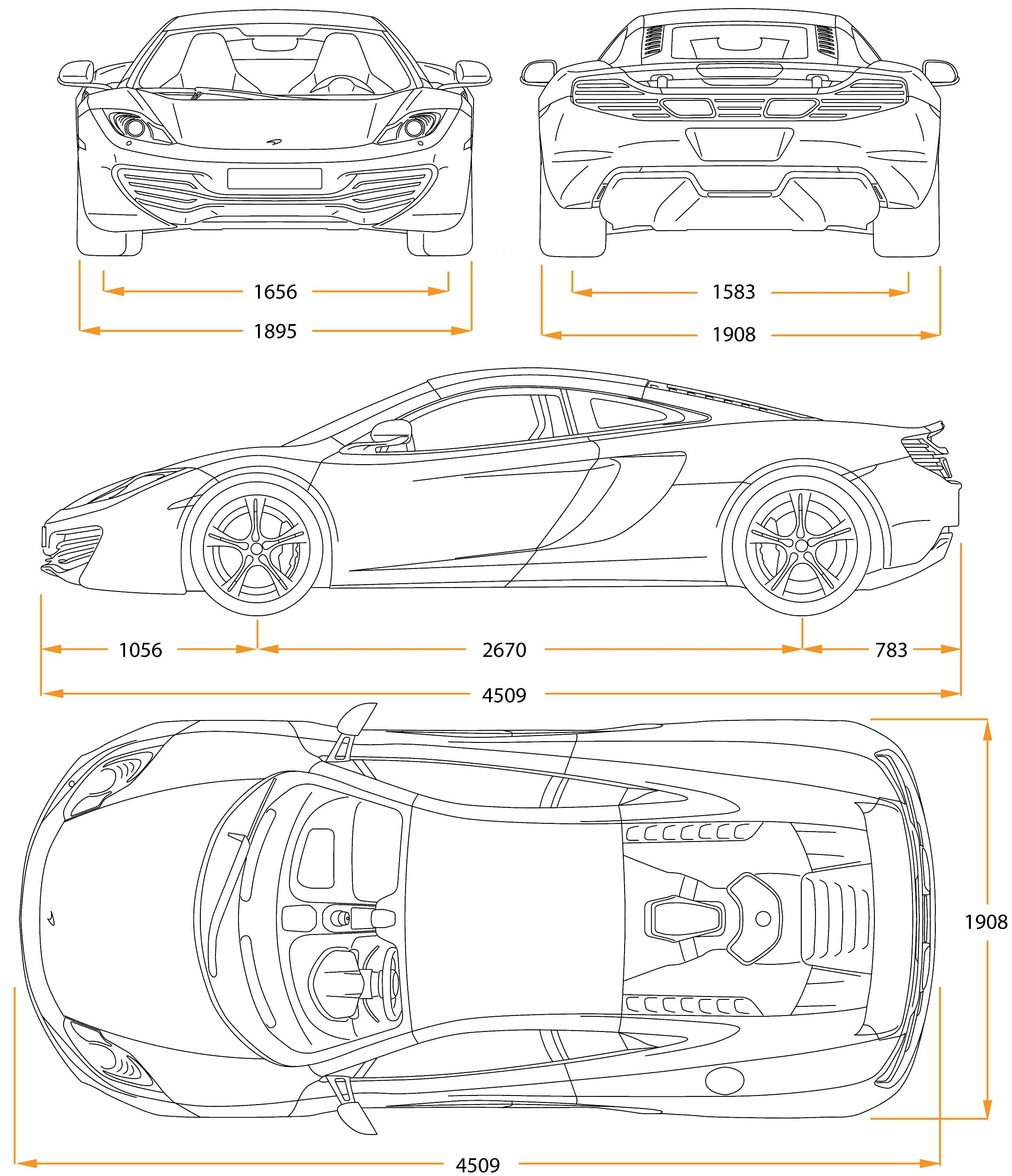 McLaren MP4-12C Blueprint - Download free blueprint for 3D ...