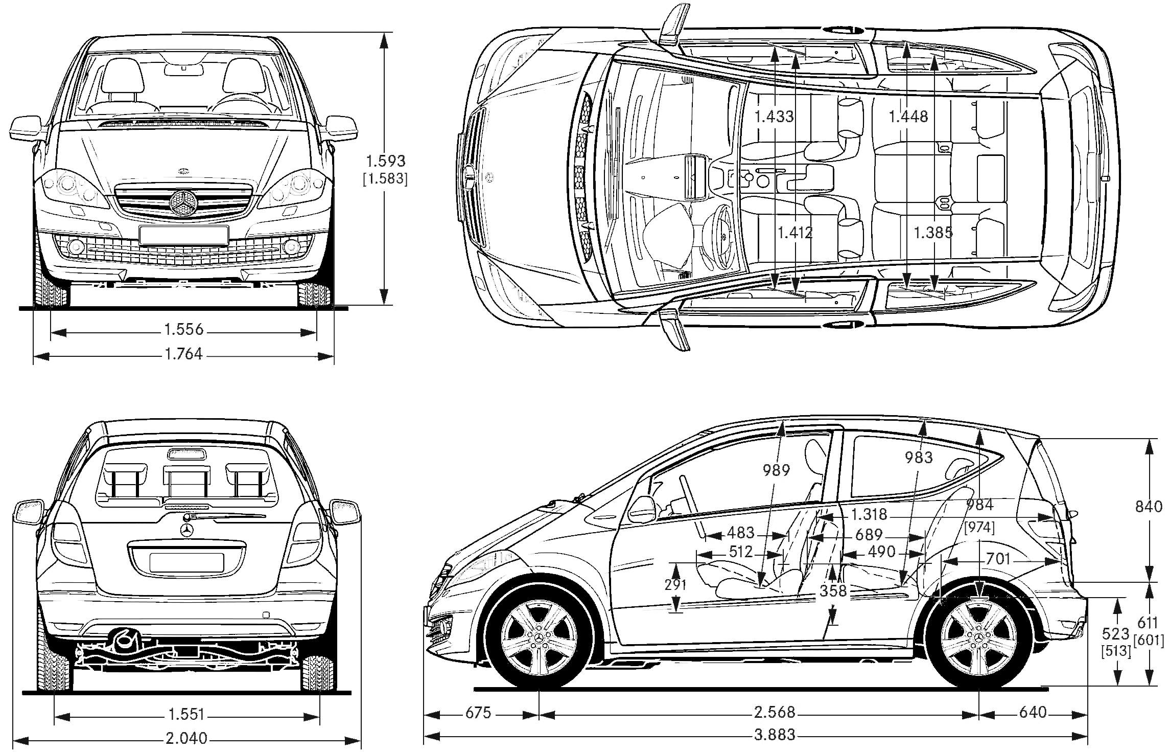 Mercedes-Benz A-Class blueprint