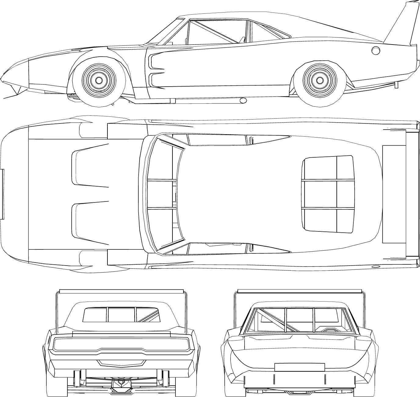 dodge charger daytona 1971 blueprint