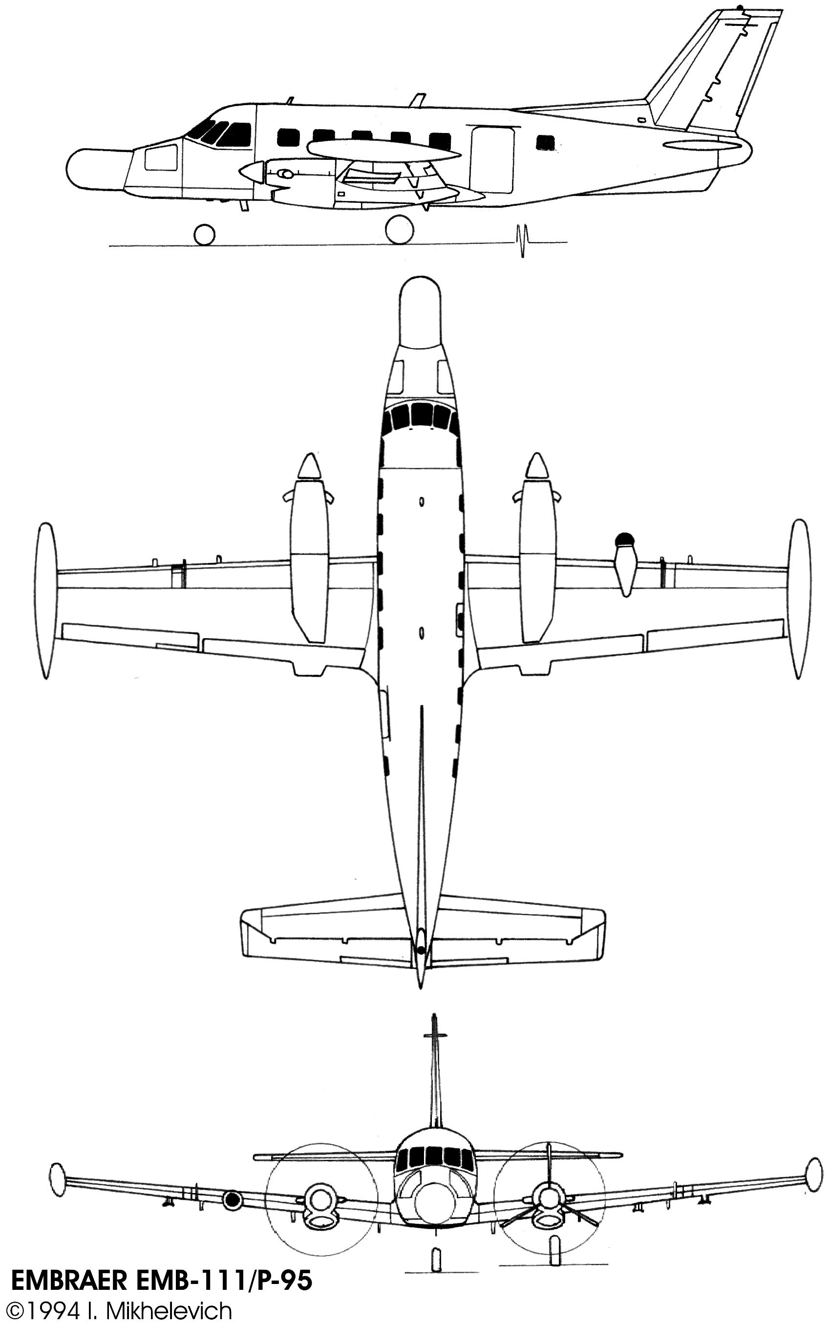 Embraer EMB 110 Bandeirante blueprint