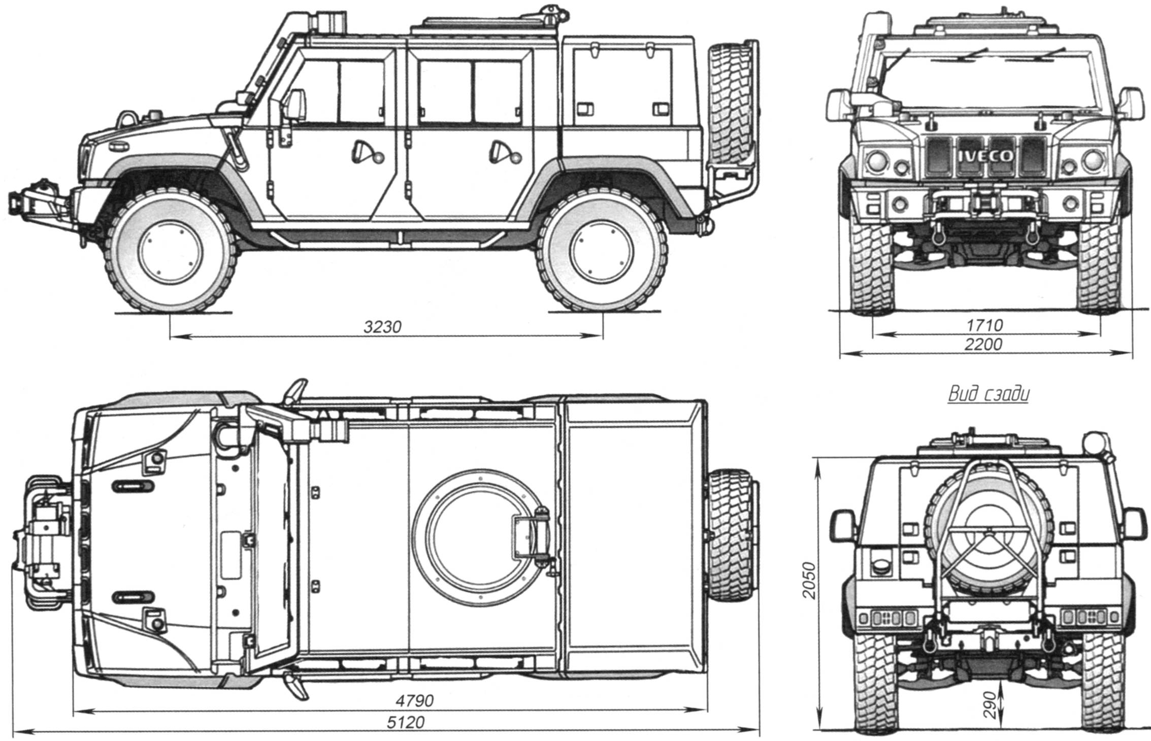 Iveco LMV M65 2001 Blueprint - Download free blueprint for 3D modeling