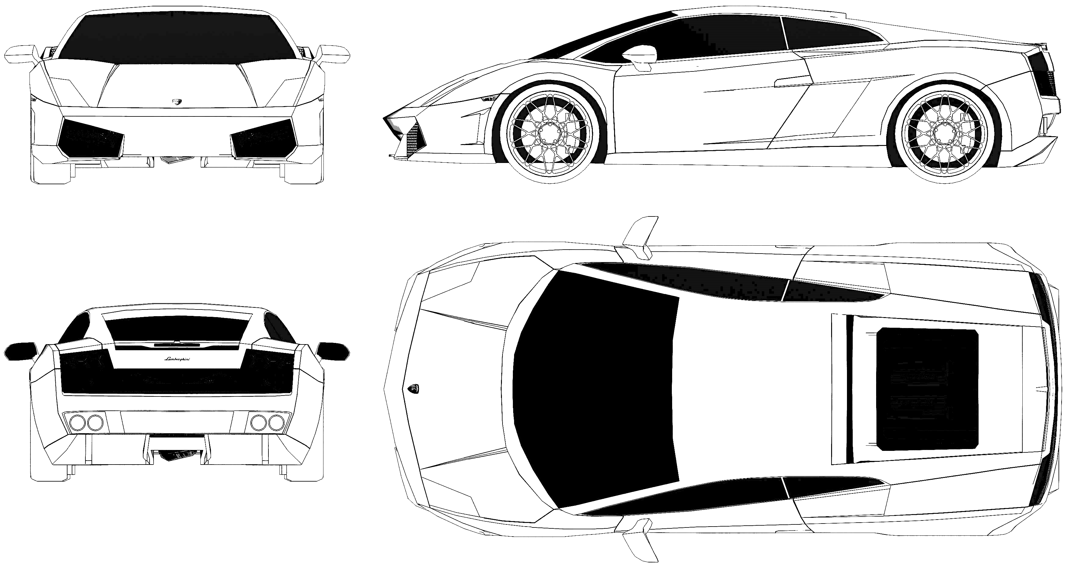 Lamborghini Gallardo LP550 Blueprint - Download free blueprint for ...