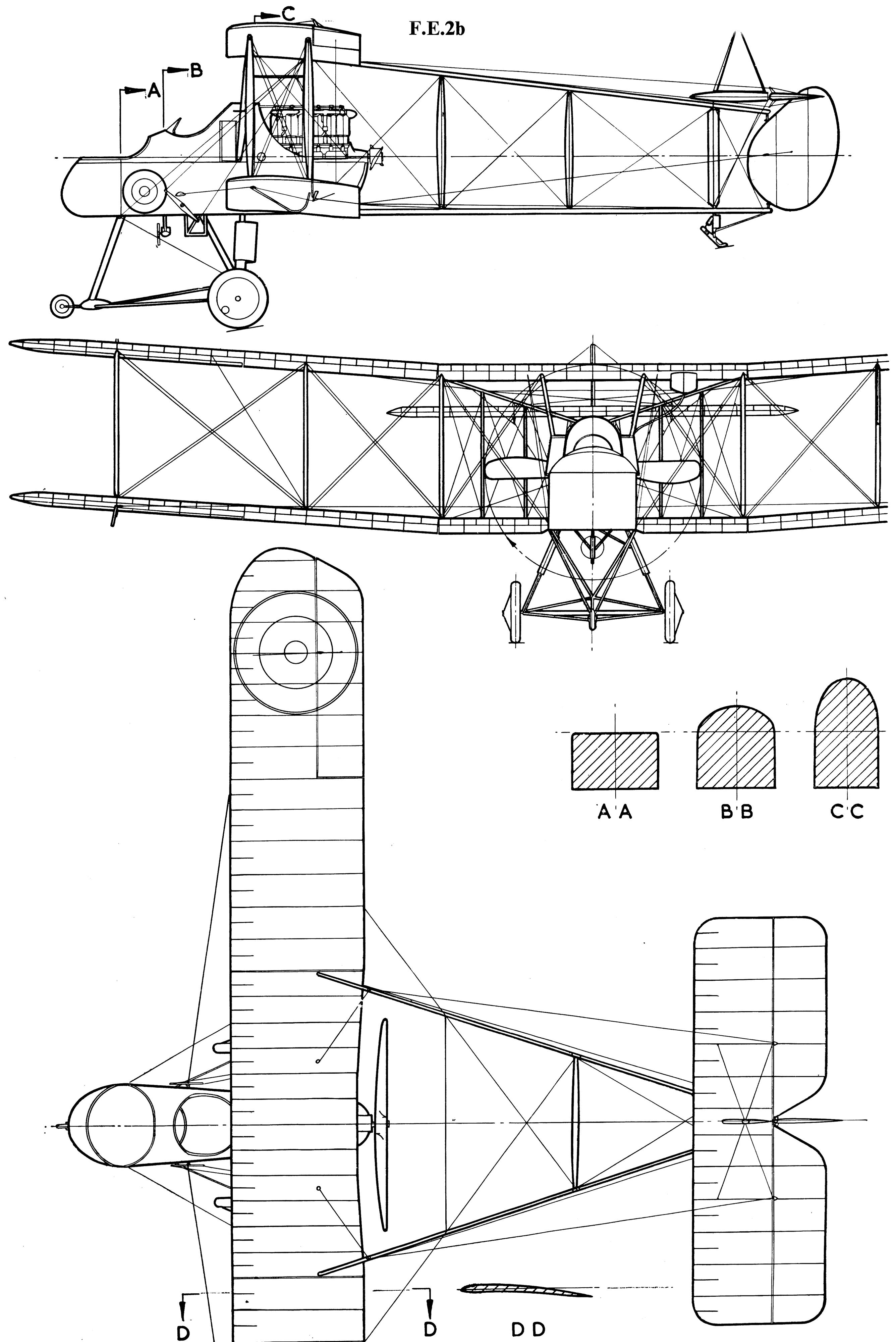 Royal Aircraft Factory F.E.2 blueprint