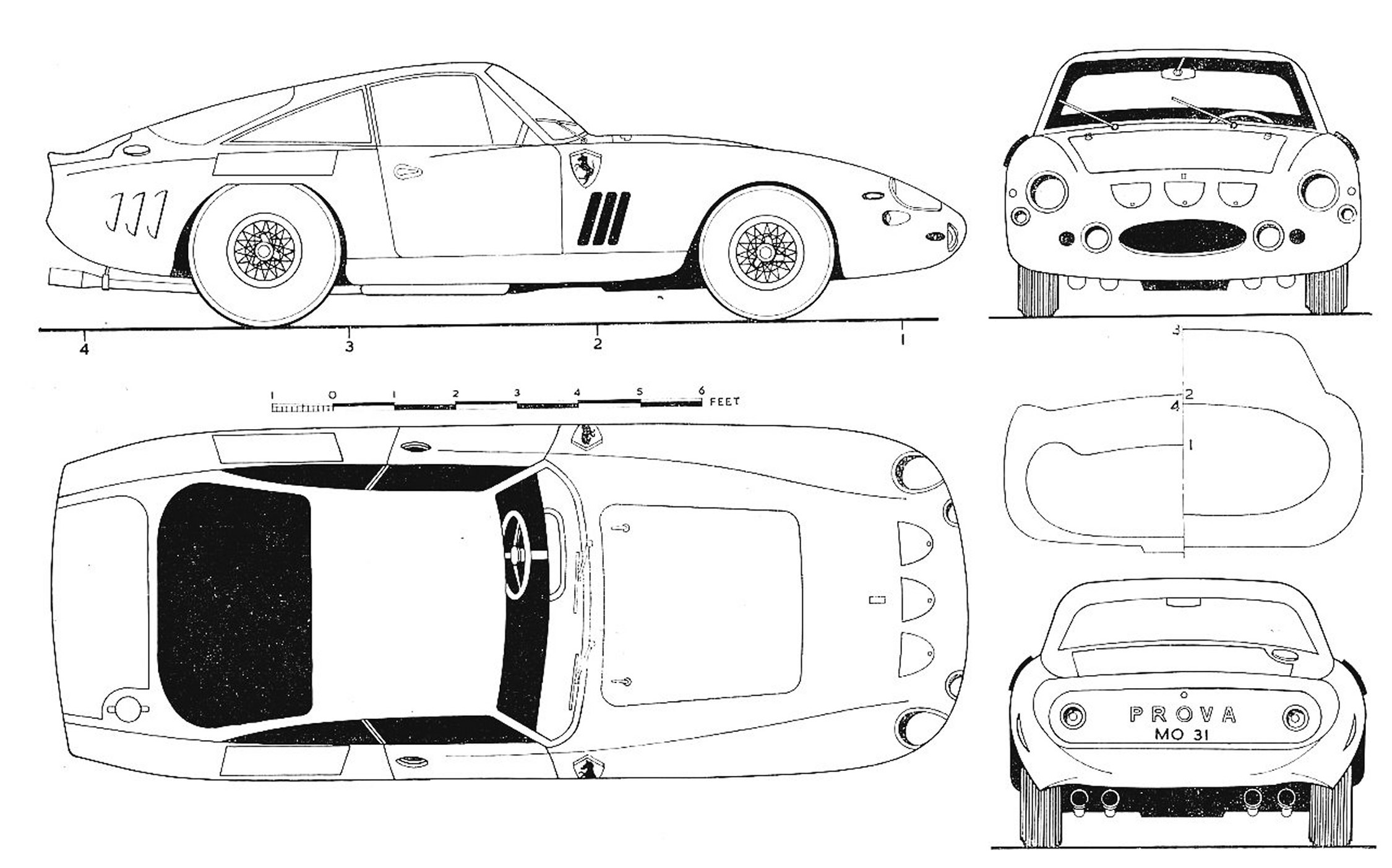 Ferrari 330 LM Berlinetta blueprint