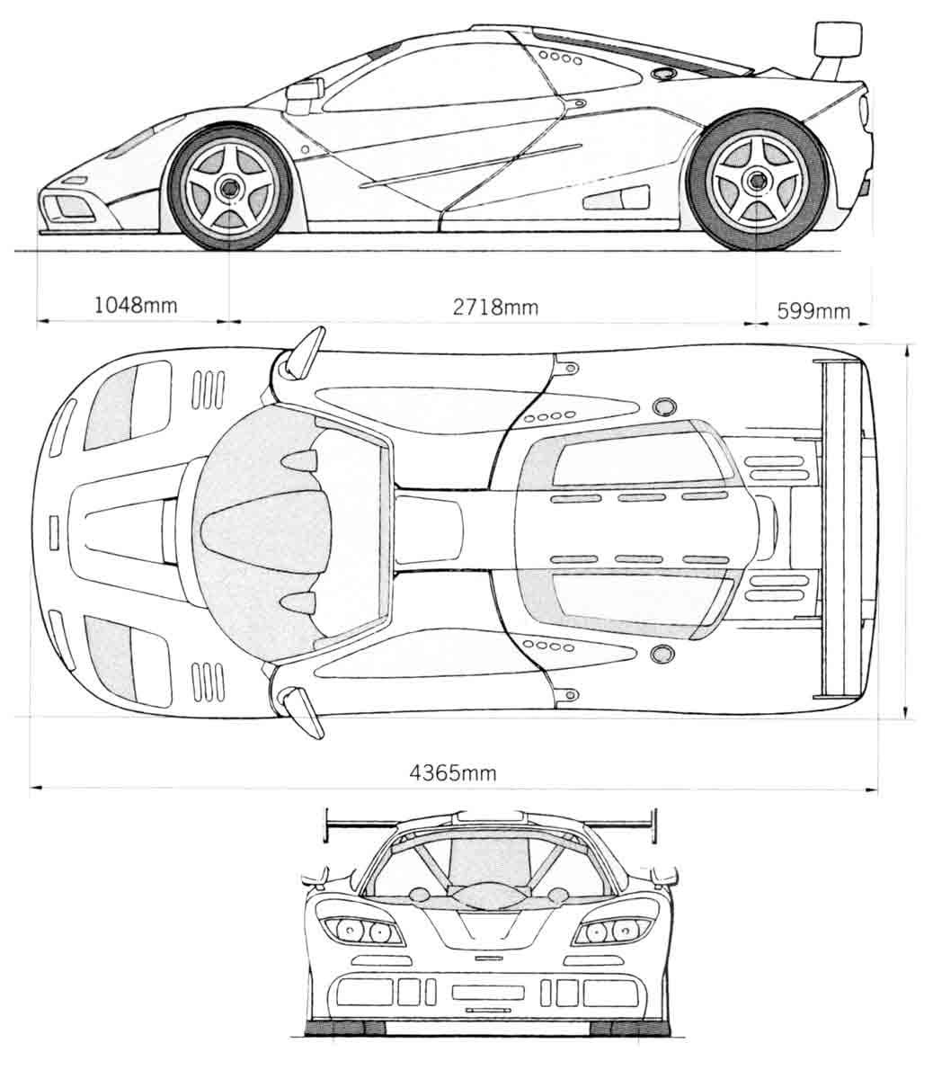 mclaren f1 lm 1989 blueprint - download free blueprint for 3d modeling
