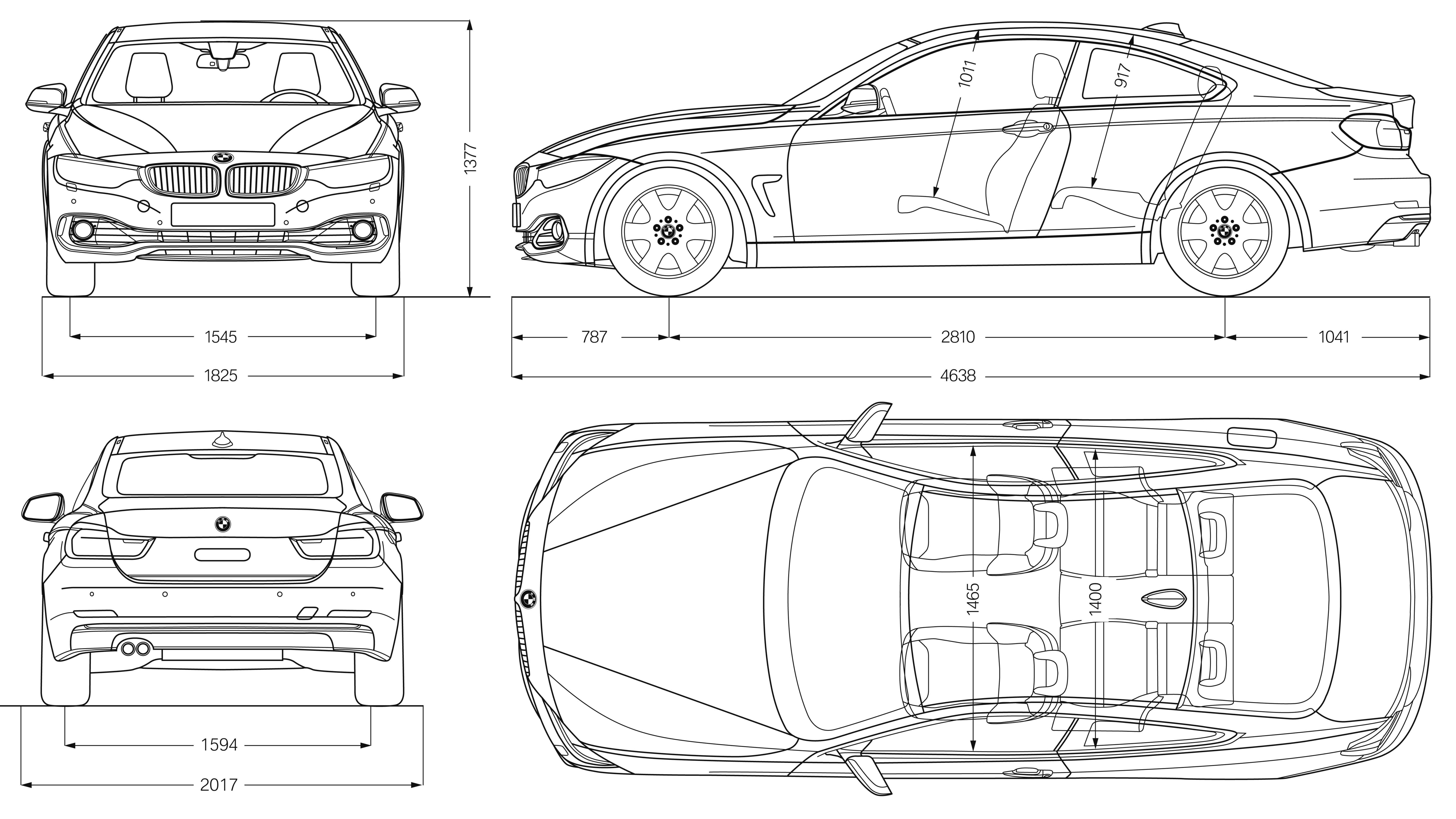 Bmw 4 Series Coupe 2013 Blueprint Download Free