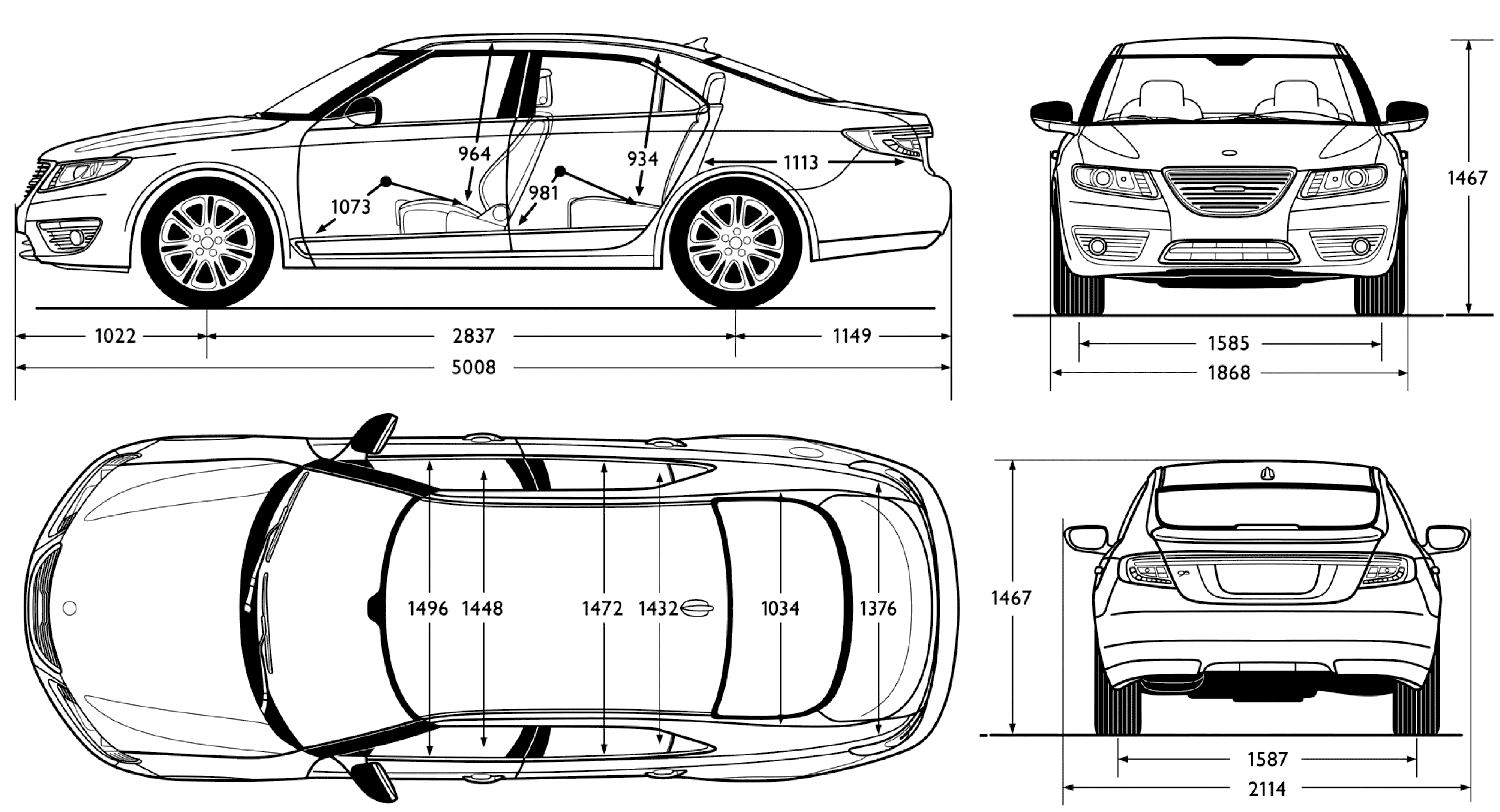 Saab 9-5 blueprint