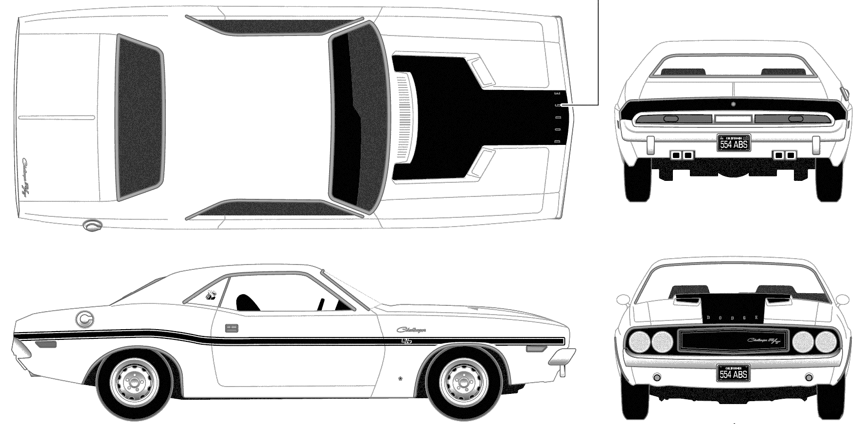Dodge Challenger 1970 Blueprint - Download free blueprint for 3D ...