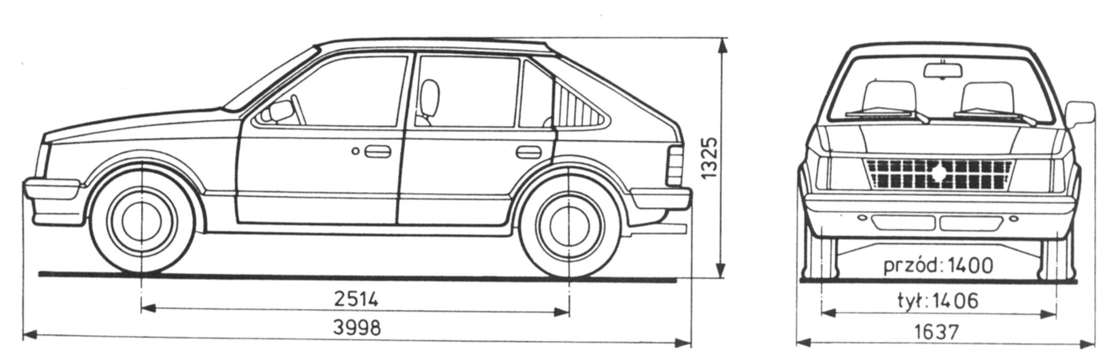 Opel Kadett D blueprint