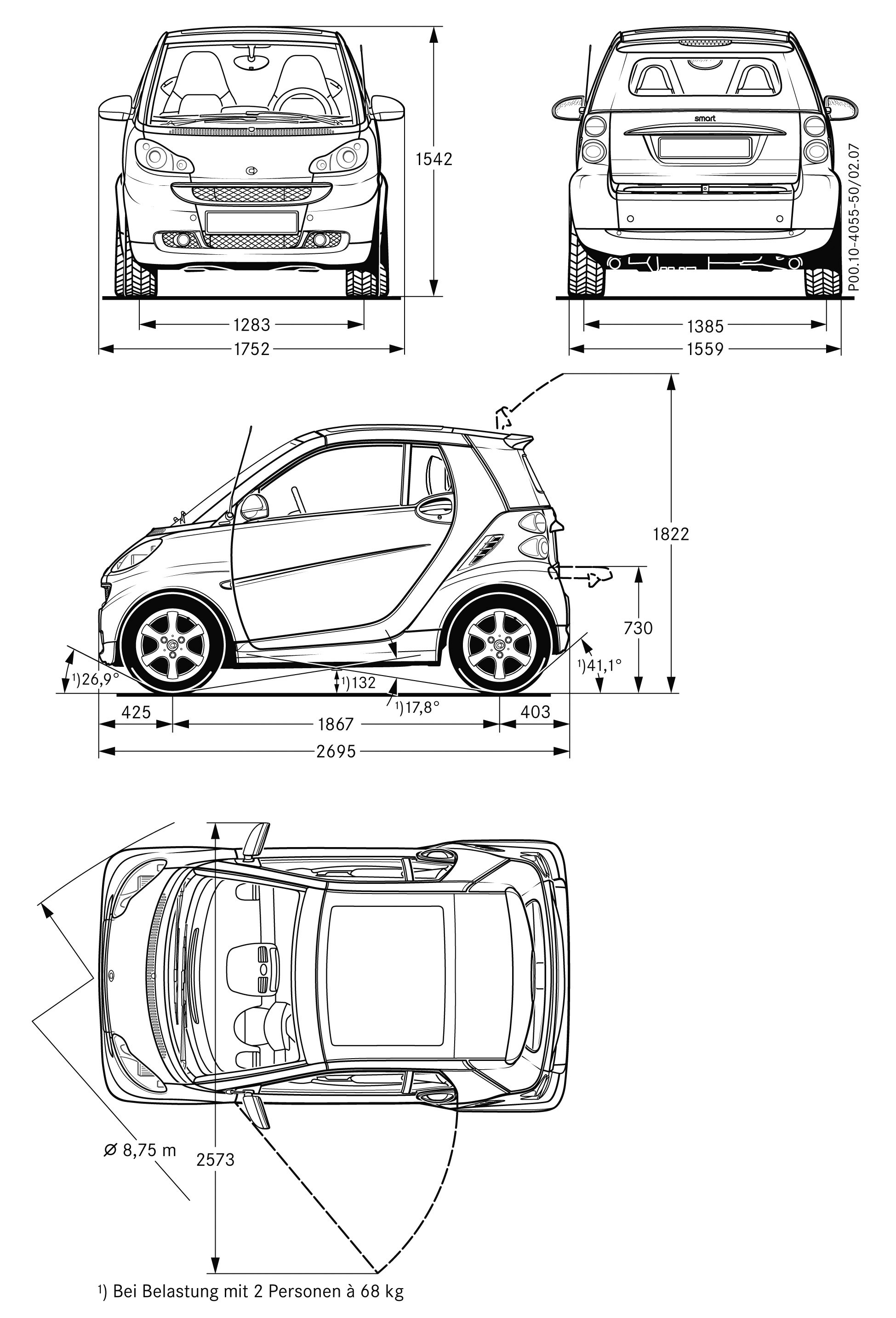 Smart Fortwo Blueprint Download Free Blueprint For 3d